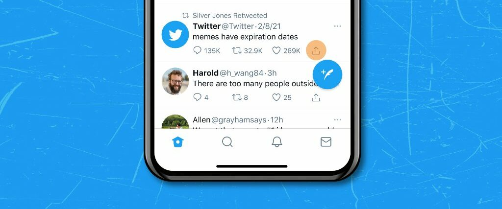 Promotional graphics highlighting the Share icon in the mobile Twitter app for iPhone