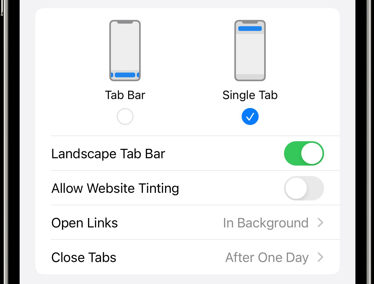"iPhone screenshot showing ""Website Tinting"" turned off in the iOS 15 Safari settings"