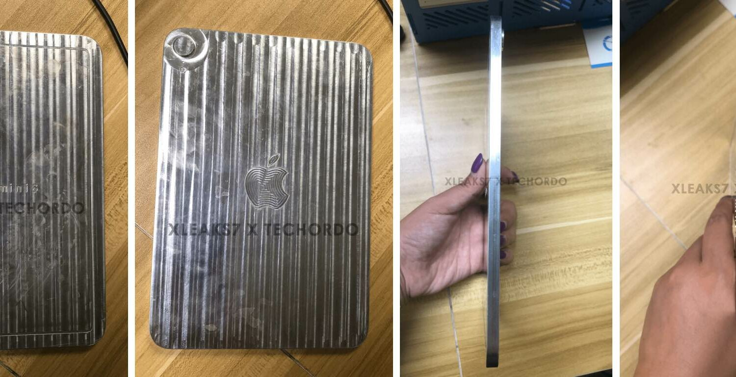 A series of images showing a claimed manufacturing mold for the sixth-generation iPad mini