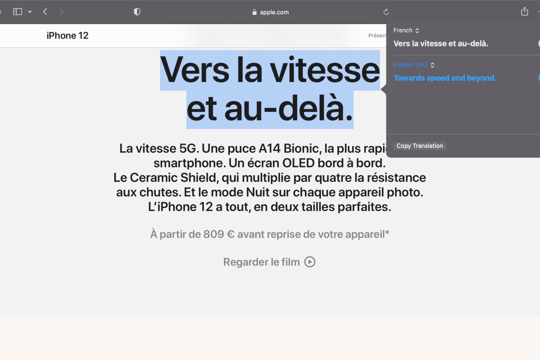 macOS 12 translation Safari
