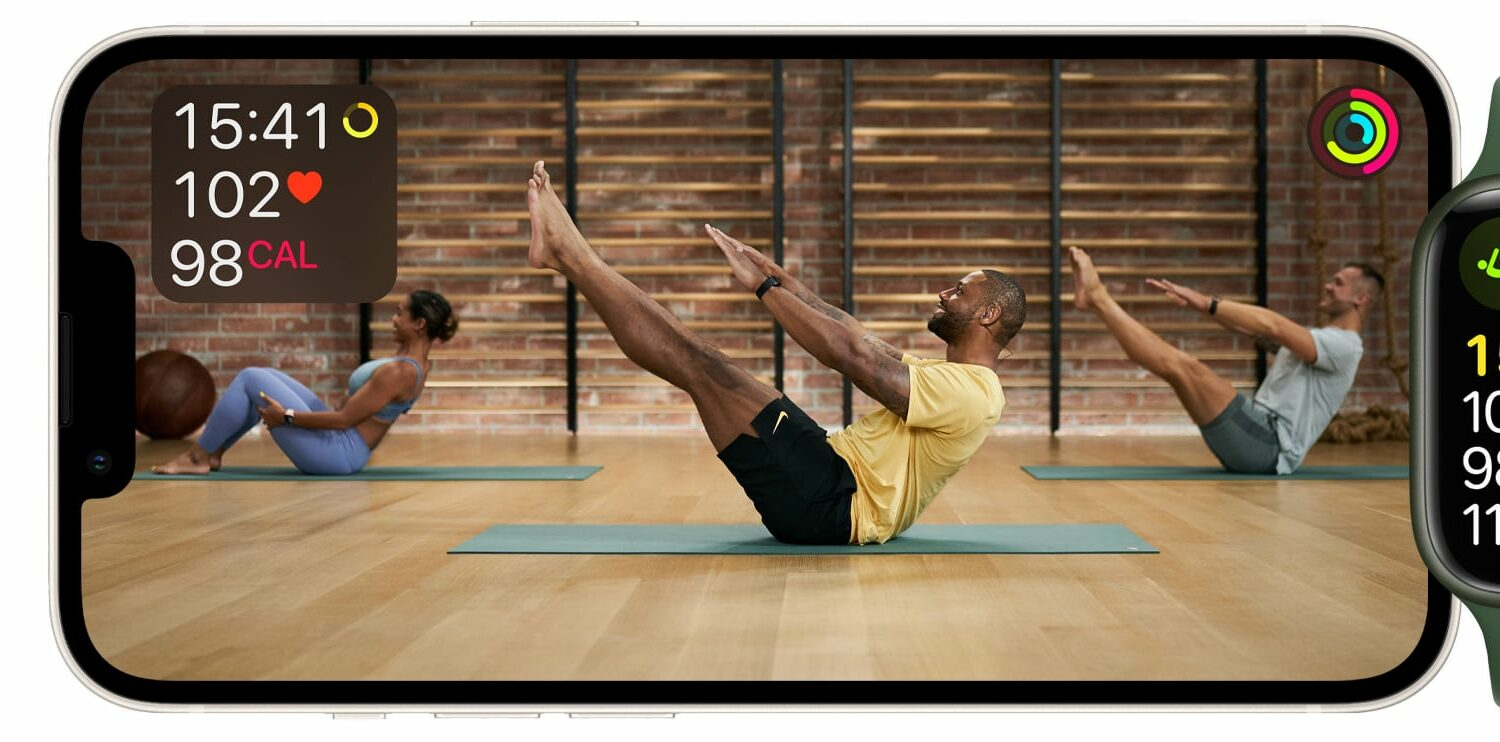Marketing image showing the pilates workout for Apple Fitness+ on iPhone and Apple Watch