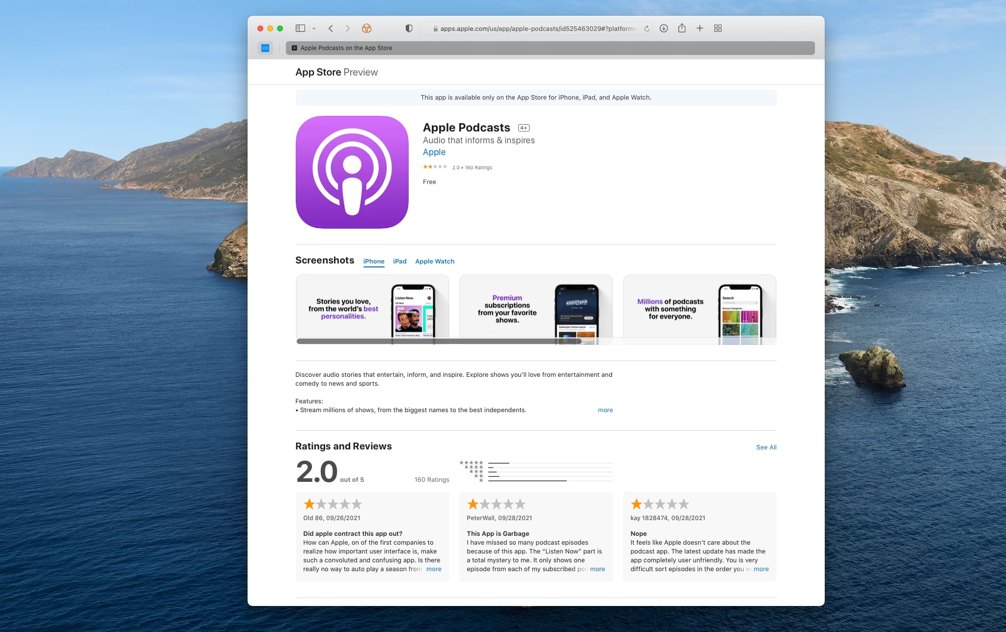 A Safari screenshot showing an App Store web preview of the Podcasts app for iPhone and iPad with negative reviews and low ratings