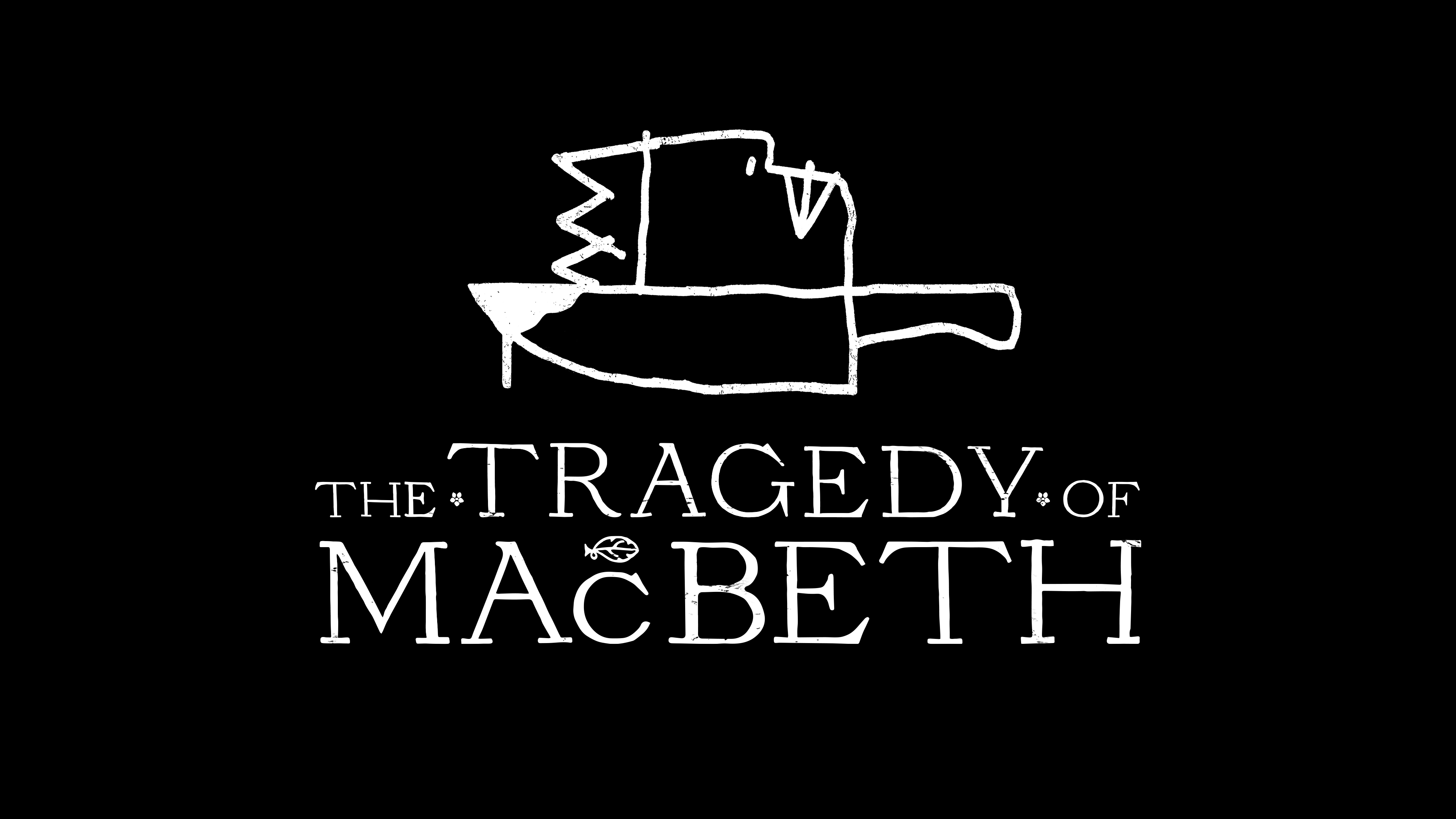 """Apple TV+ poster artwork for the film """"The Tragedy of Macbeth,"""" a black-and-white adaptation based on the tragedy of the same name by William Shakespeare"""