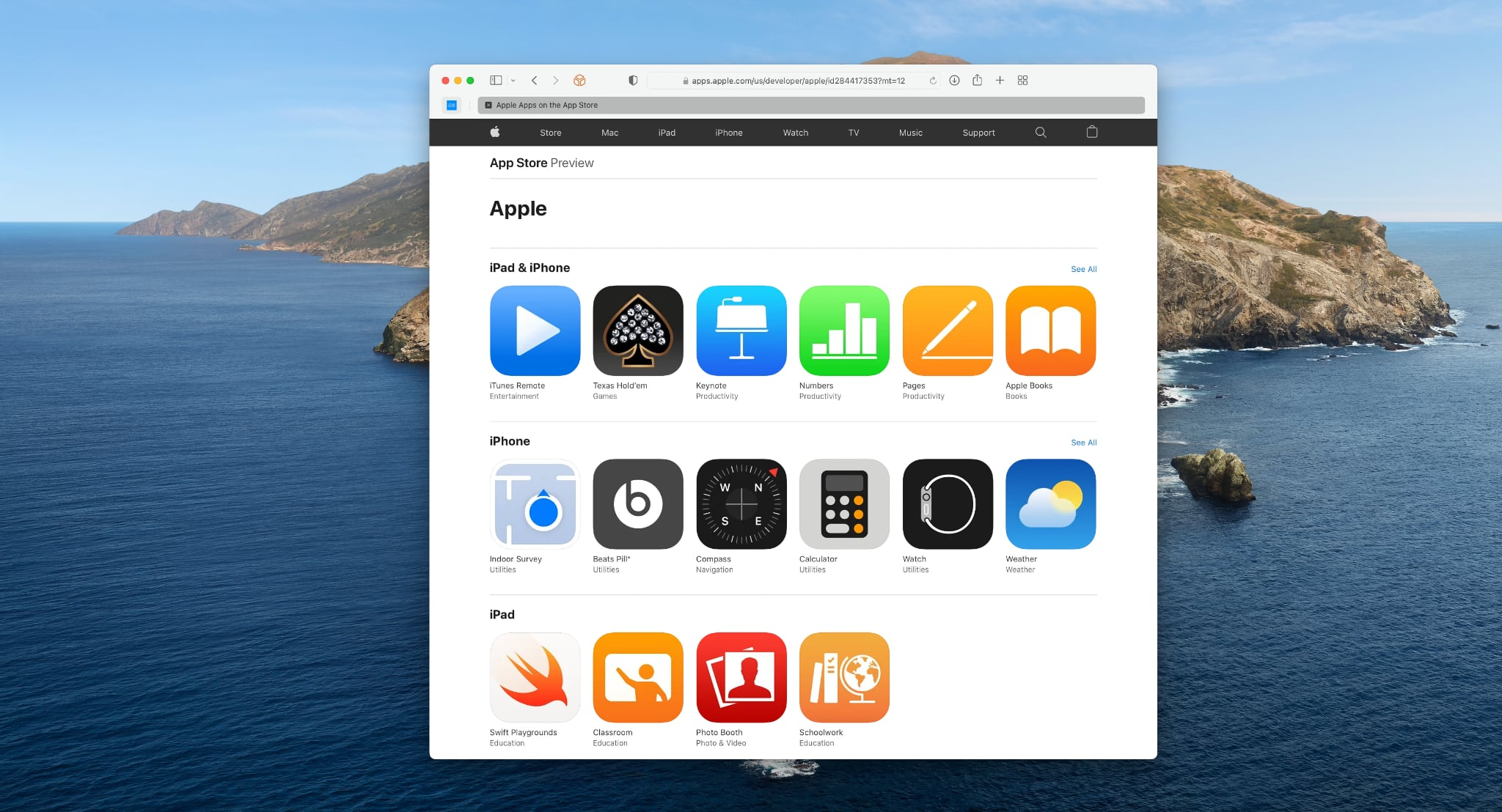 A Safari screenshot showing an App Store web preview of first-party apps for iPhone and iPad