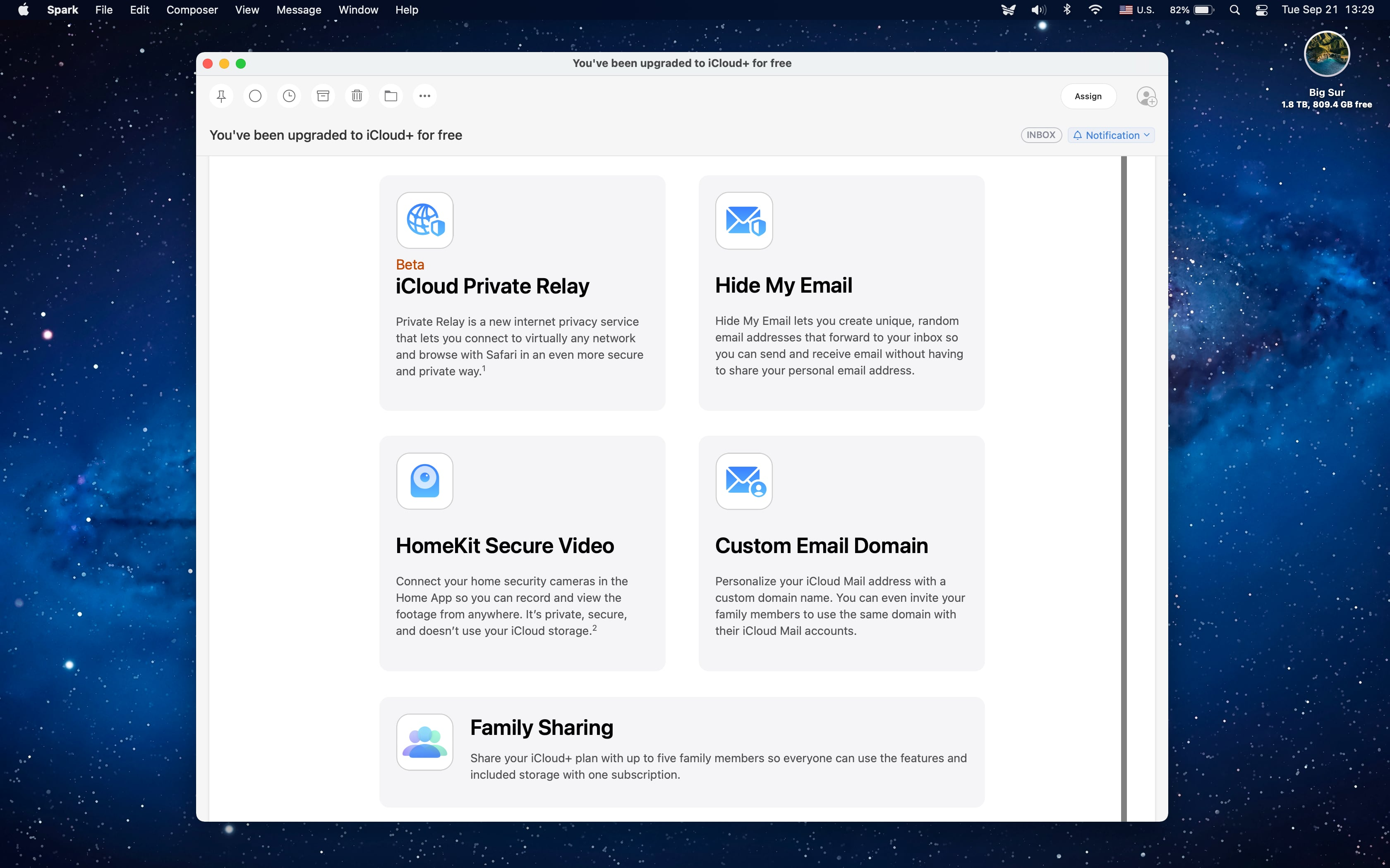 A macOS screenshot showing an Apple Mail message promoting the new Hide My Email and Custom Email Domains features