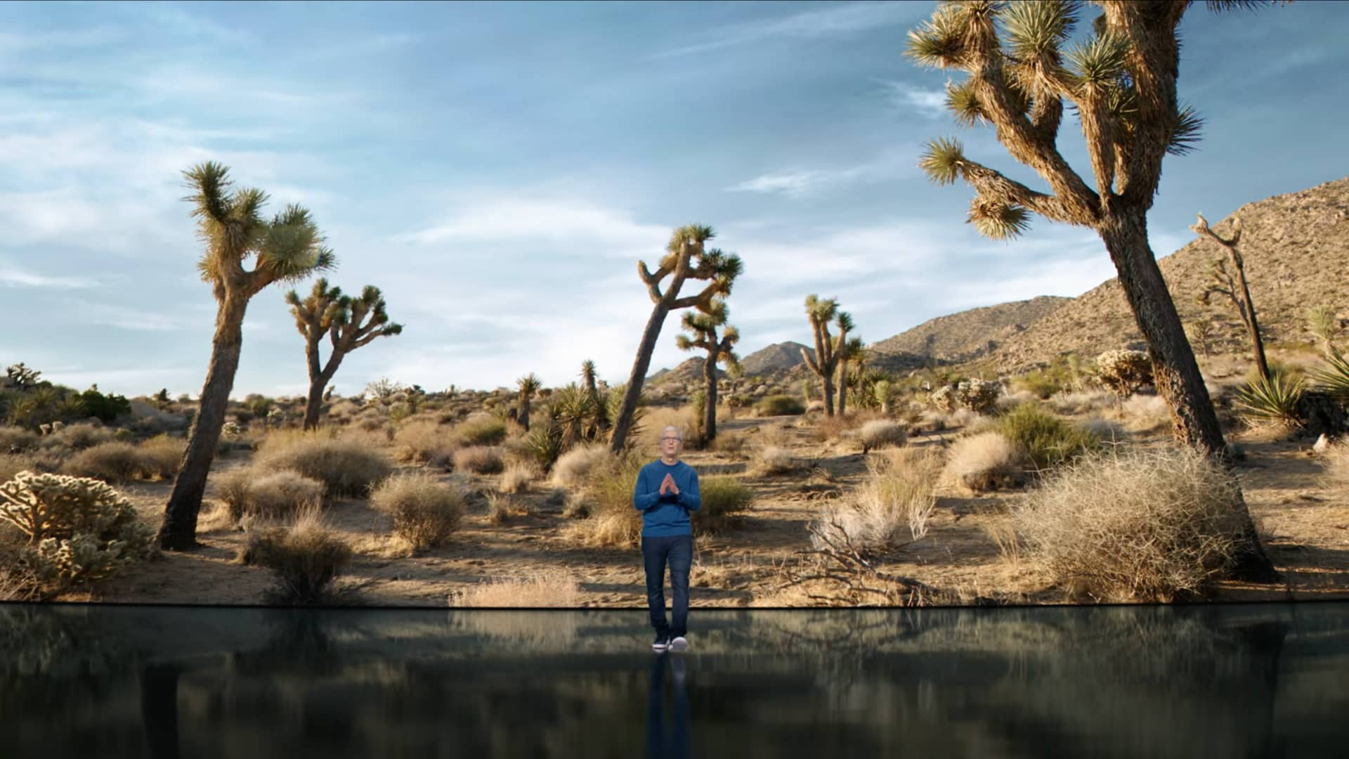 """A still image taken from Apple's September 2021 """"California Streaming"""" event video which shows CEO Tim Cook walking toward the audience with his hands in praying position. In the background behind him, a huge slide displays an image of a California desert."""