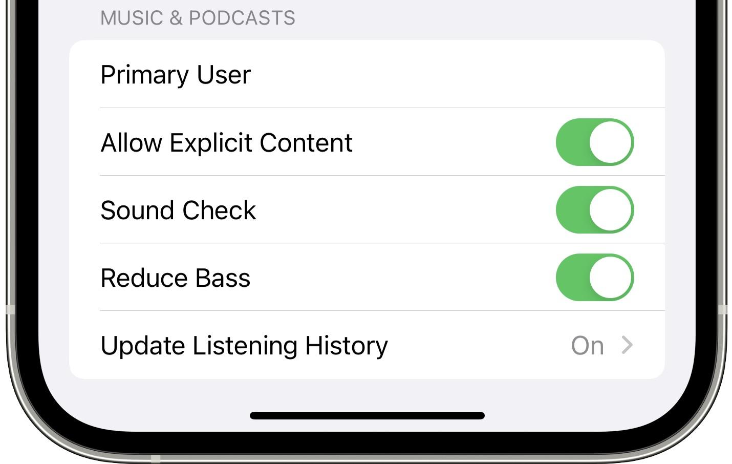 Снимок экрана настроек HomePod в приложении iOS 15 Home на iPhone с включенной опцией «Уменьшить низкие частоты».