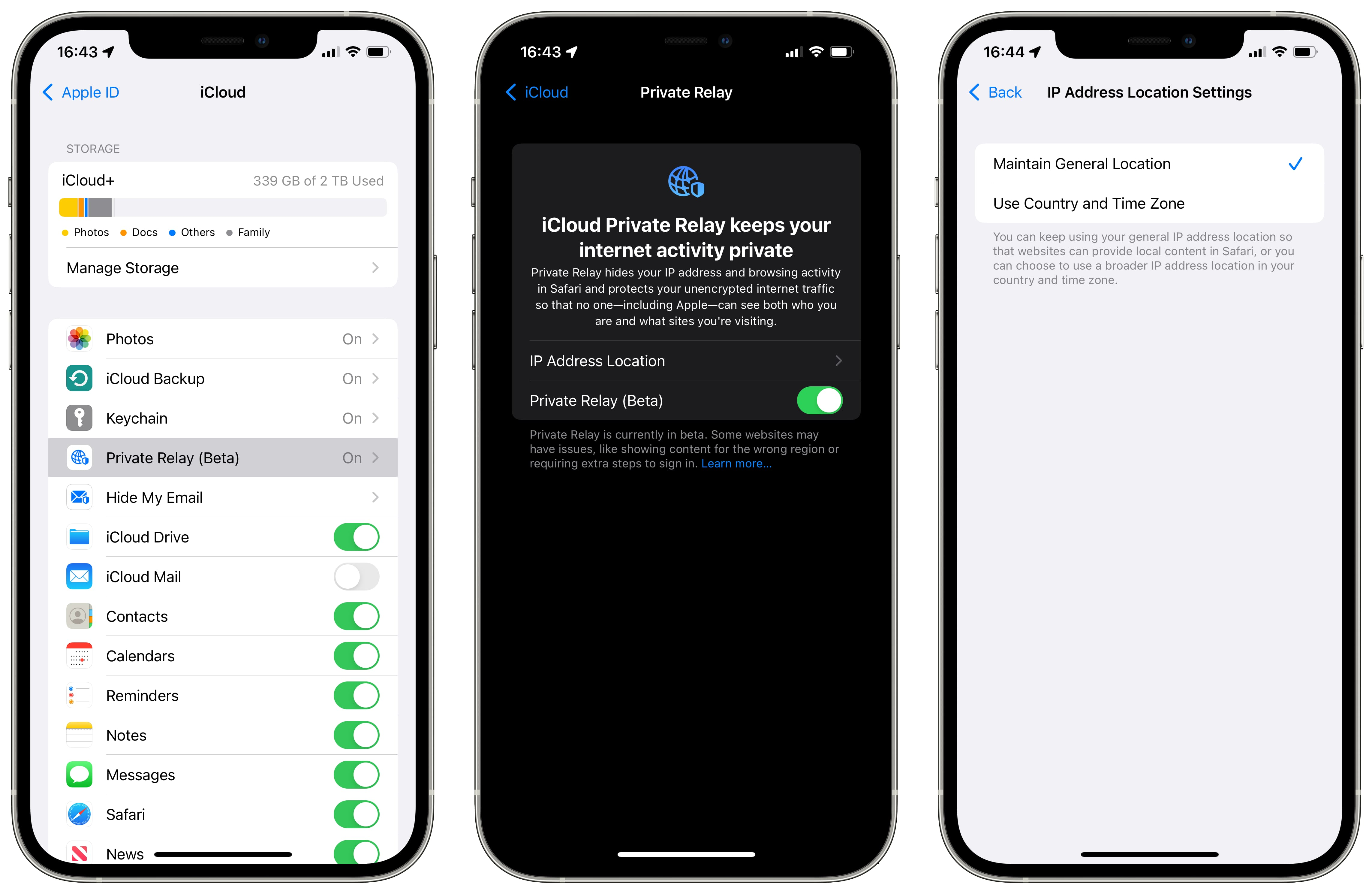 Three iPhone screenshots showing the iCloud Private Relay entry in iCloud settings (left), a splash screen for the feature (middle) and the IP address location settings (right)