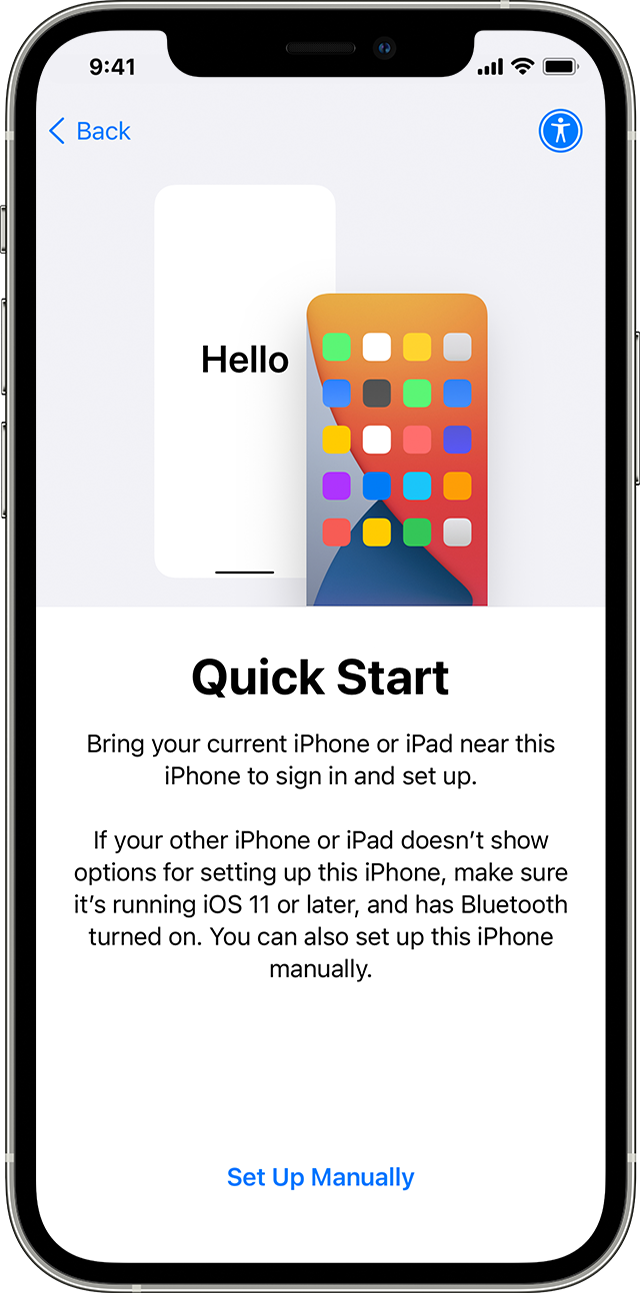 An iPhone screenshot showing the splash screen of Apple's Quick Start feature available at iOS setup