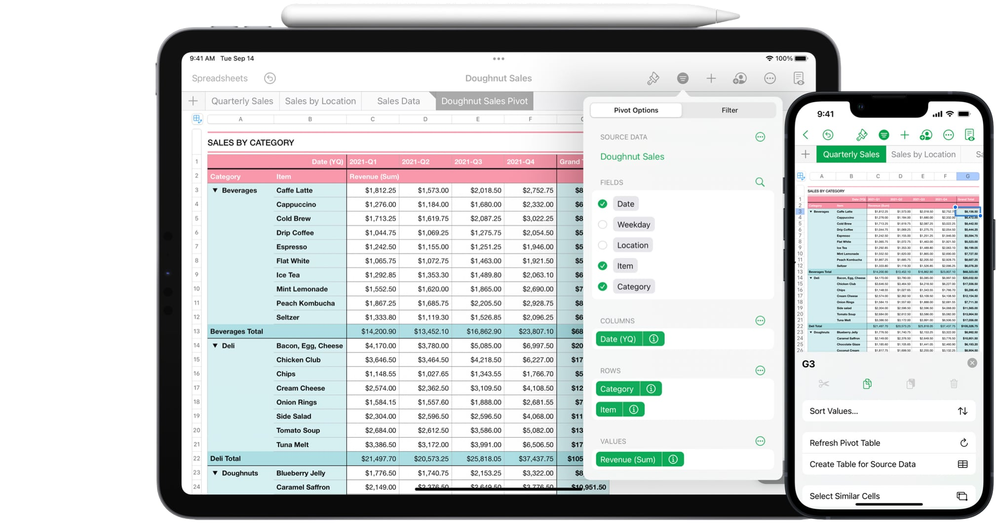 Apple's marketing image showing Numbers version 11.2 with pivot tables on iPhone and iPad
