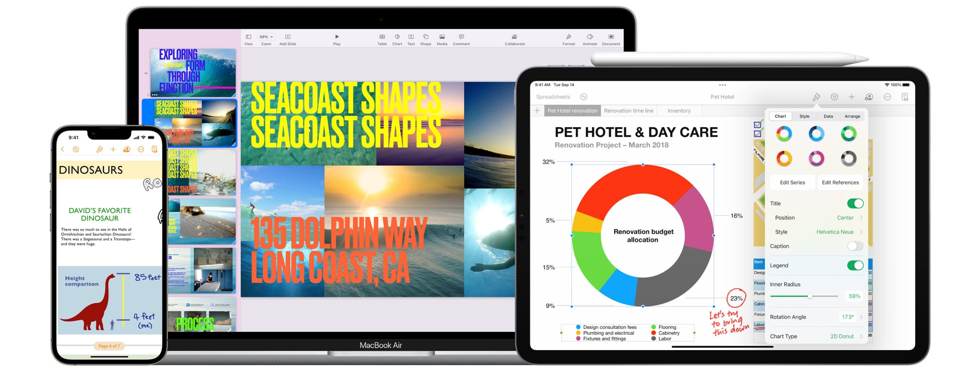 Apple's marketing image promoting the new productivity and collaboration features in iWork version 11.2 across iPhone, iPad and Mac