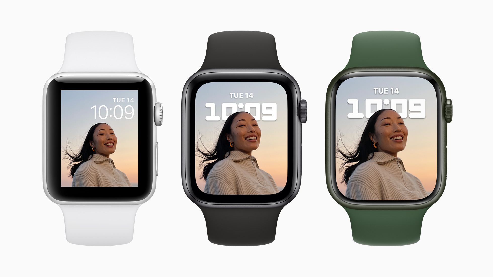 Apple's marketing image showing screen size comparison between Apple Watch Series 7 and older models