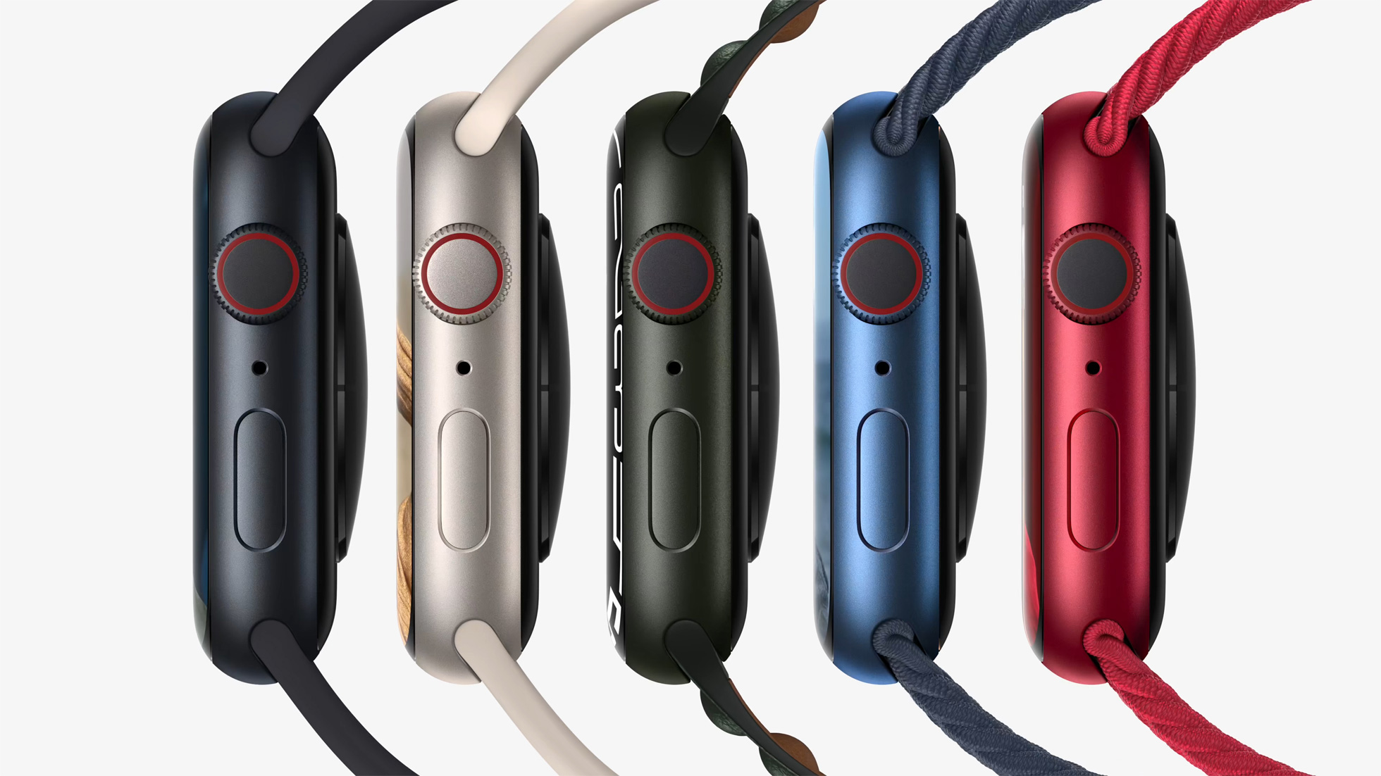 A side view of all the Apple Watch Series 7 models and colors