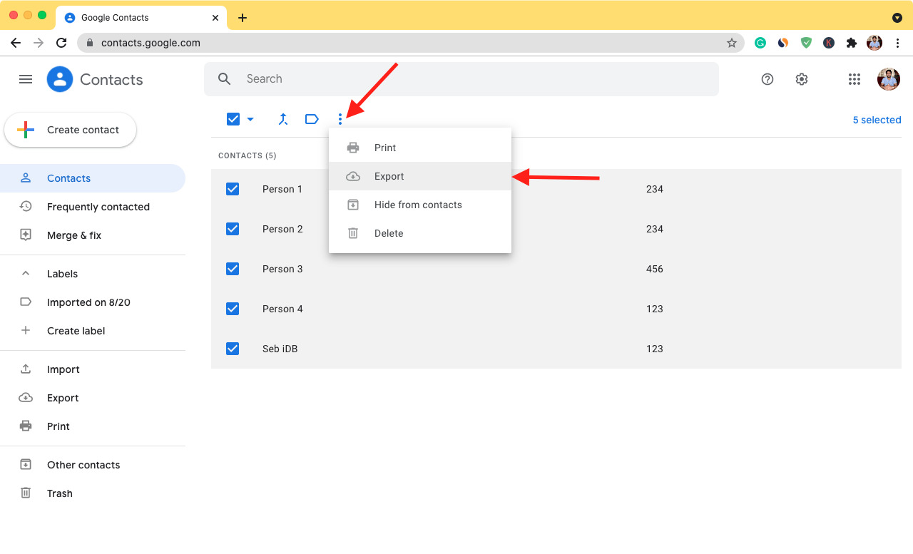 Export your contacts from Google Contacts on web