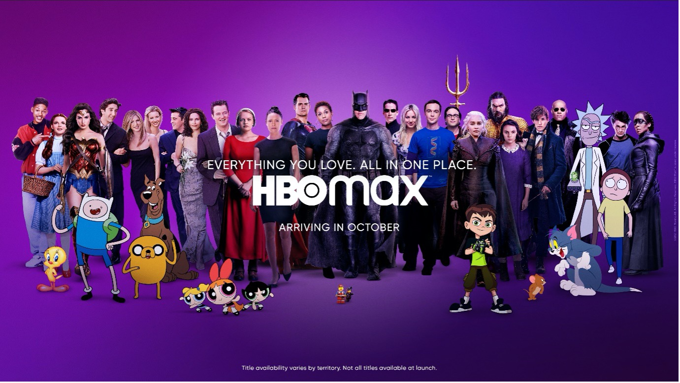 Promotional graphics showing characters from WarnerMedia and HBO Max properties, set against a purple gradient background