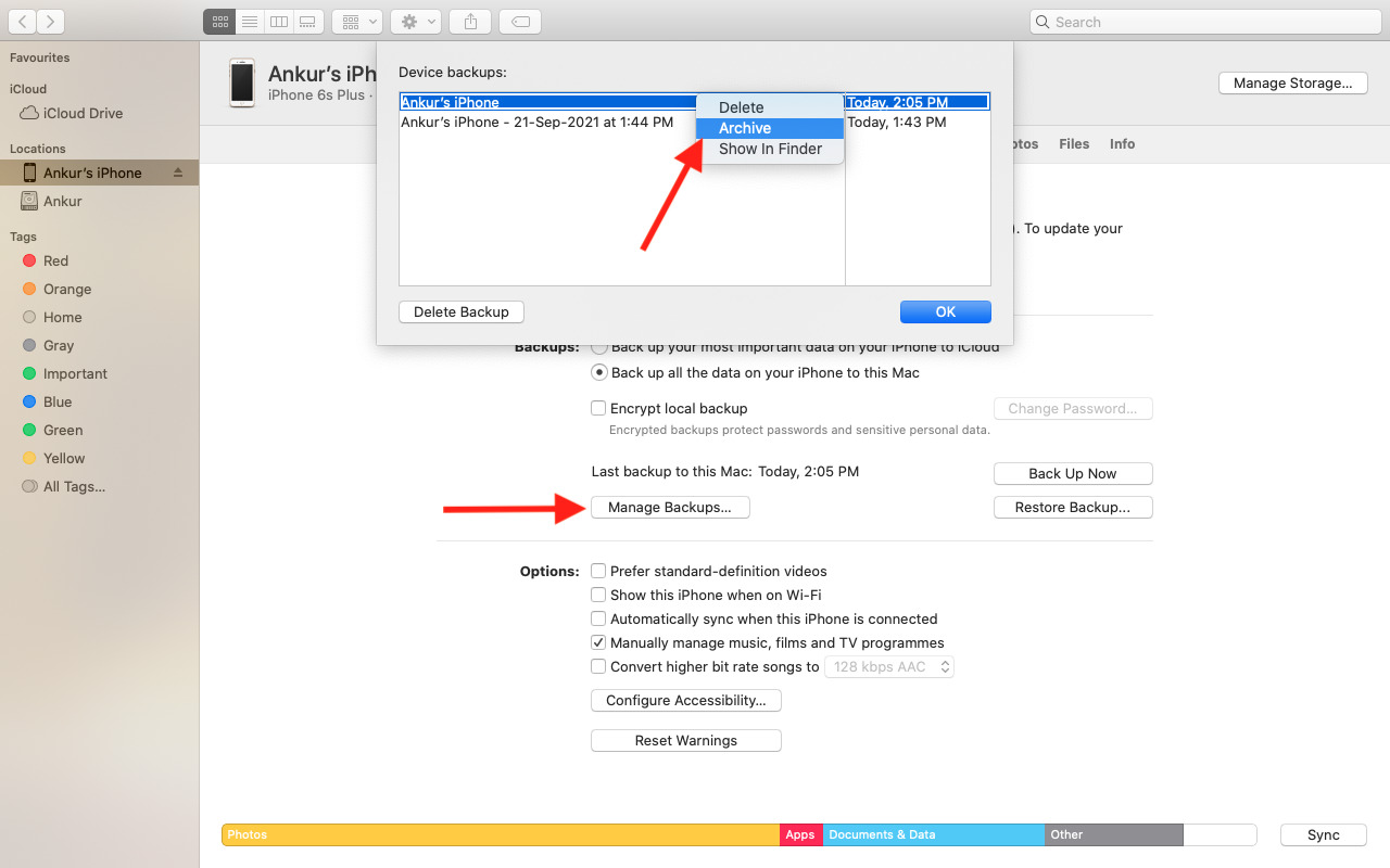 How to archive an iPhone backup on Mac