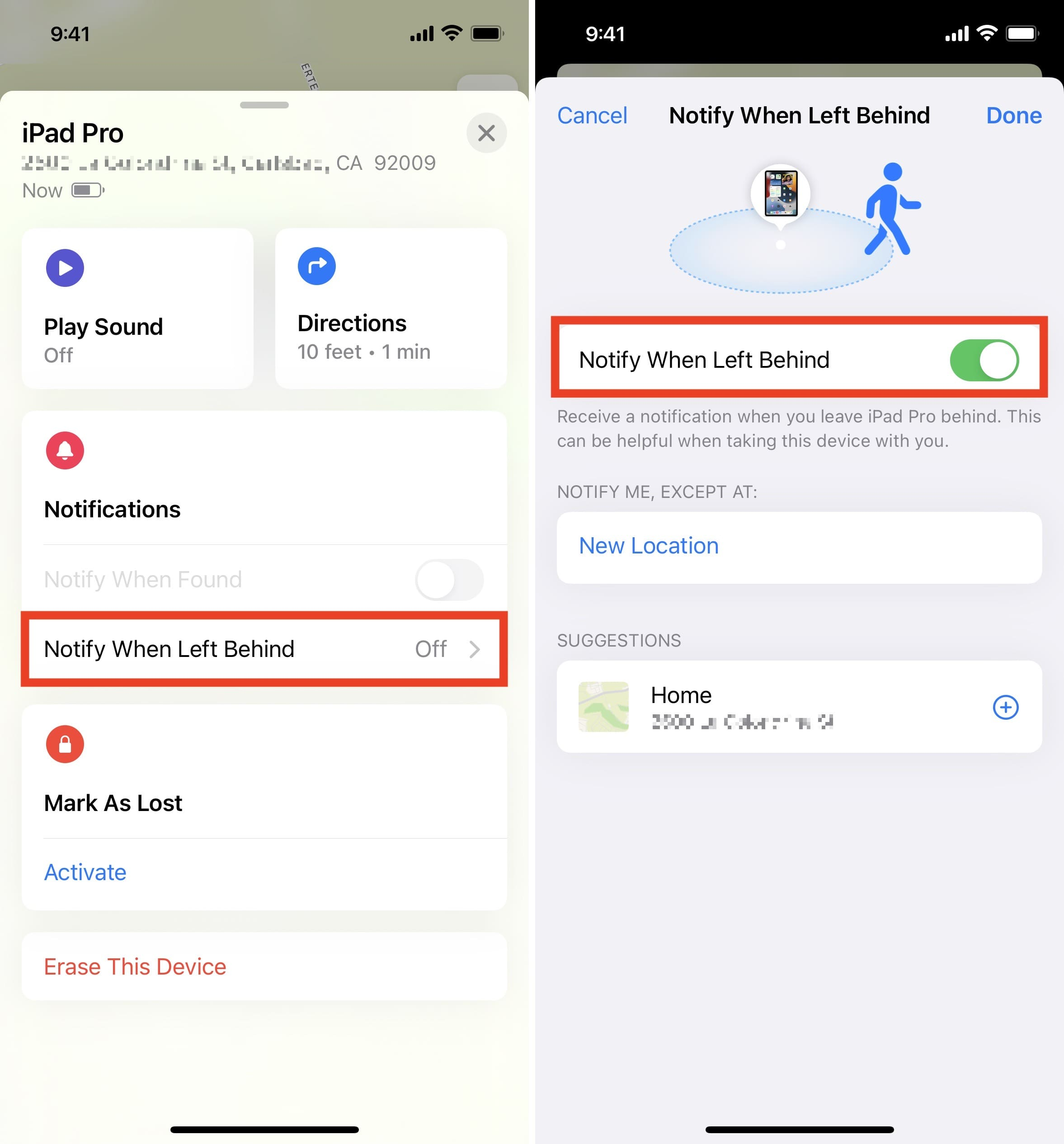 Notify When Left Behind in Find My app on iPhone in iOS 15