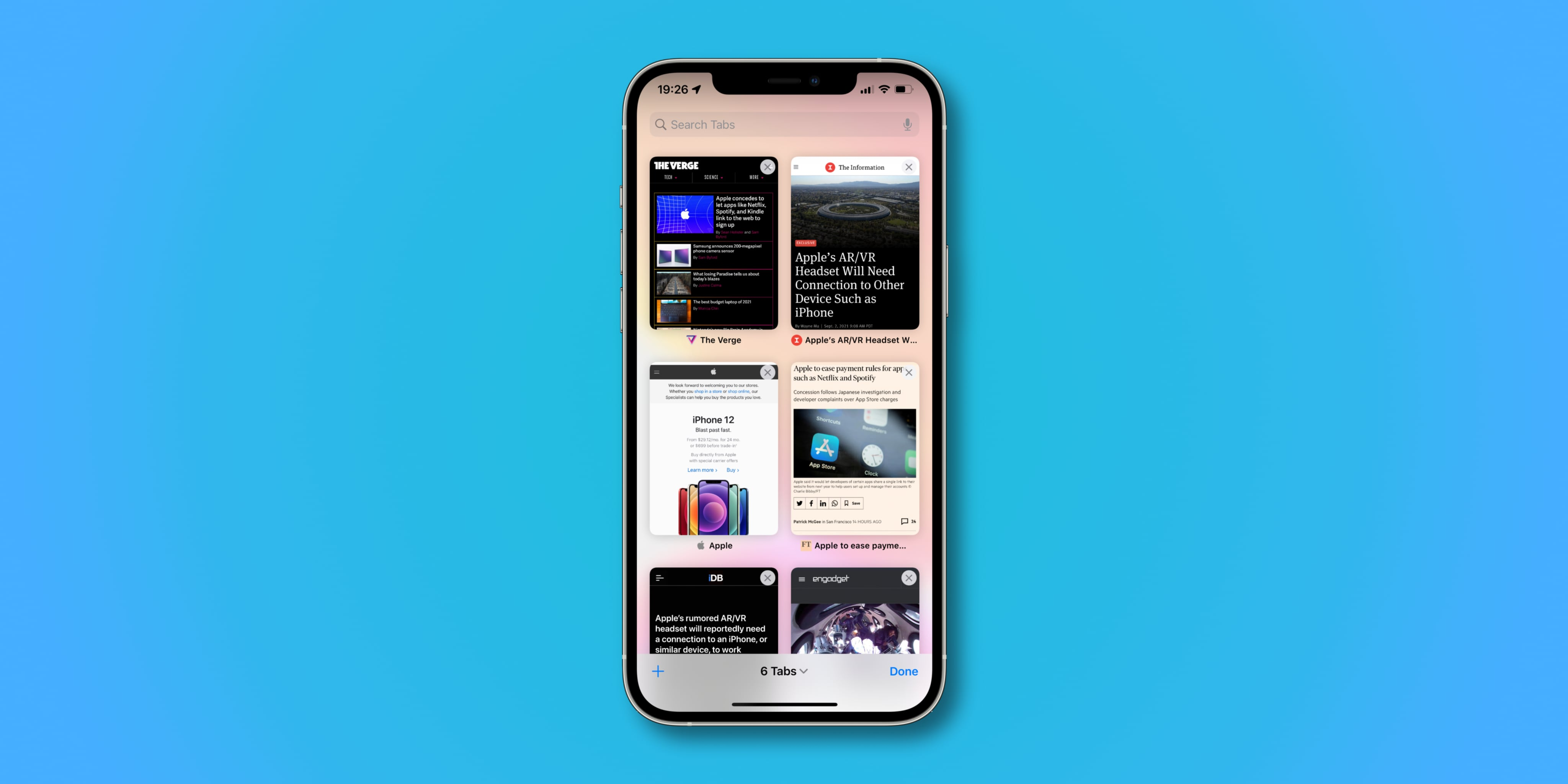 iPhone screenshot illustrating website thumbnails in the All Tabs view in Safari on iOS 15