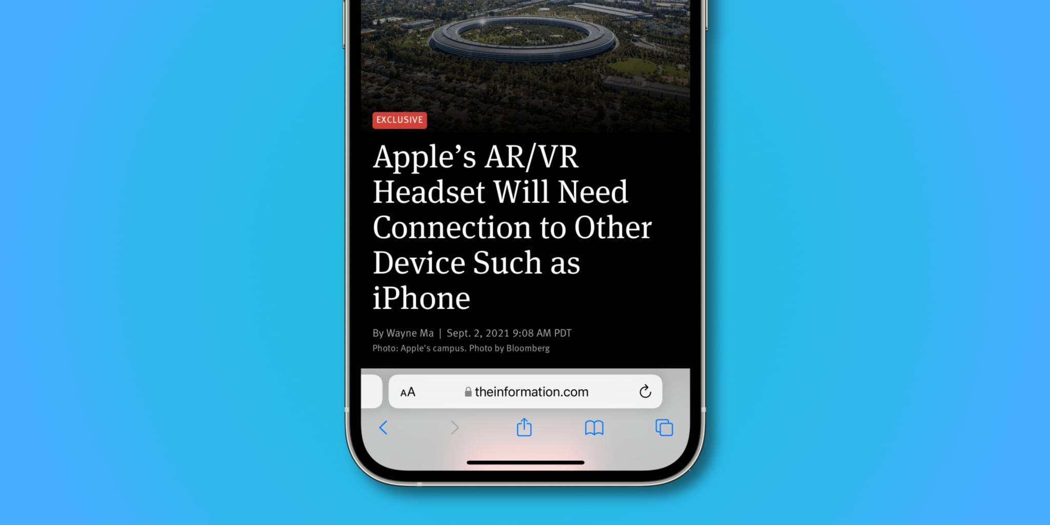 iPhone screenshot showing bottom address bar in Safari on iOS 15