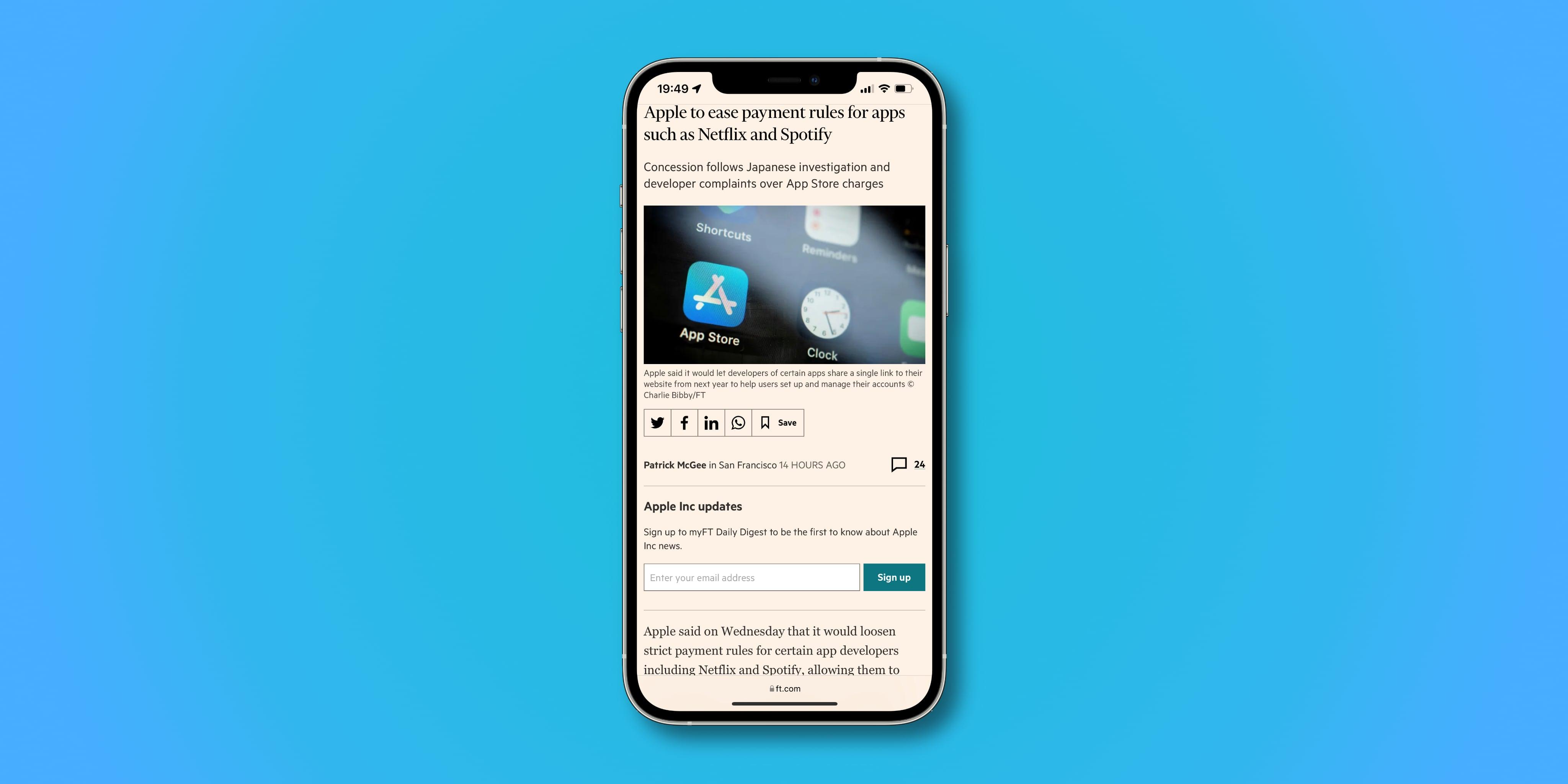 iPhone screenshot illustrating the bottom address bar with the toolbar hidden in Safari on iOS 15