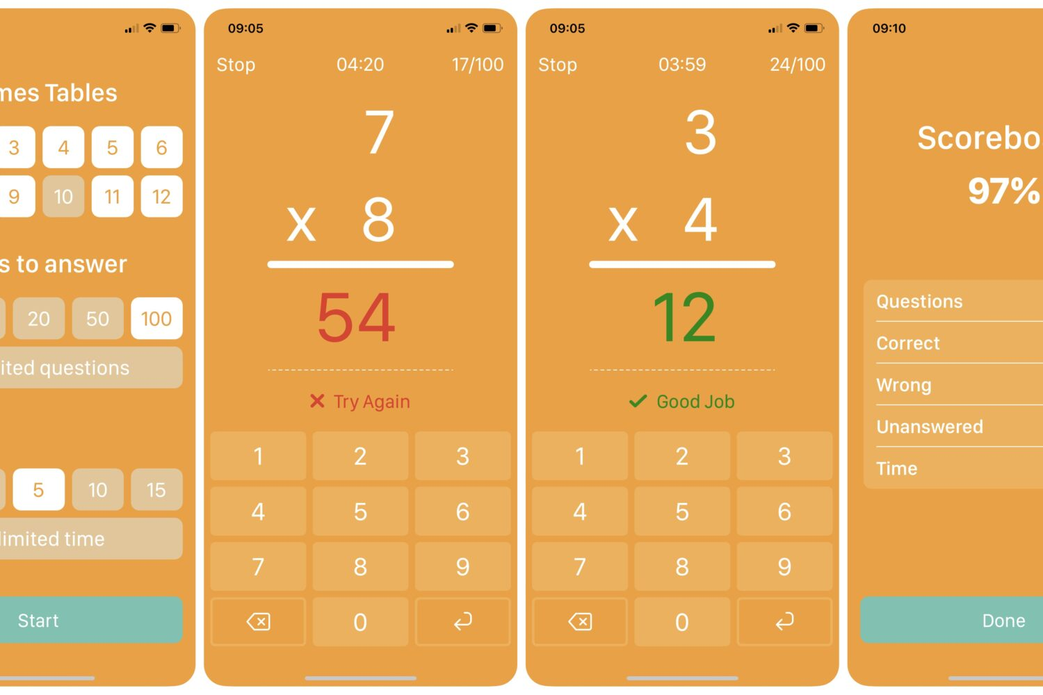 Times Tables multiplications