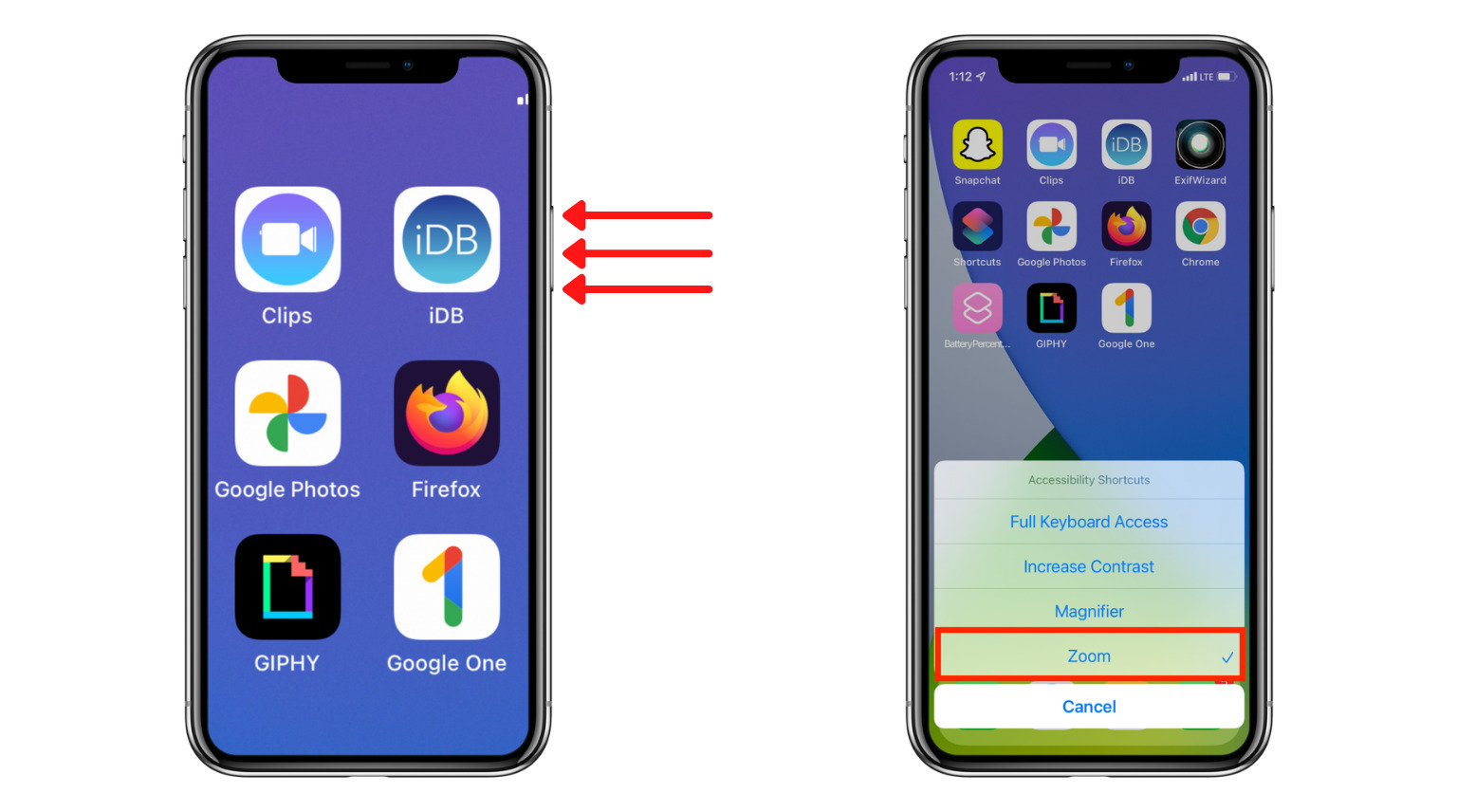 Triple Click Side Button on iPhone with Face ID to see Accessibility Shortcuts