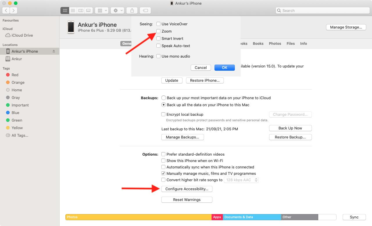 Turn off iPhone Zoom using Mac or PC
