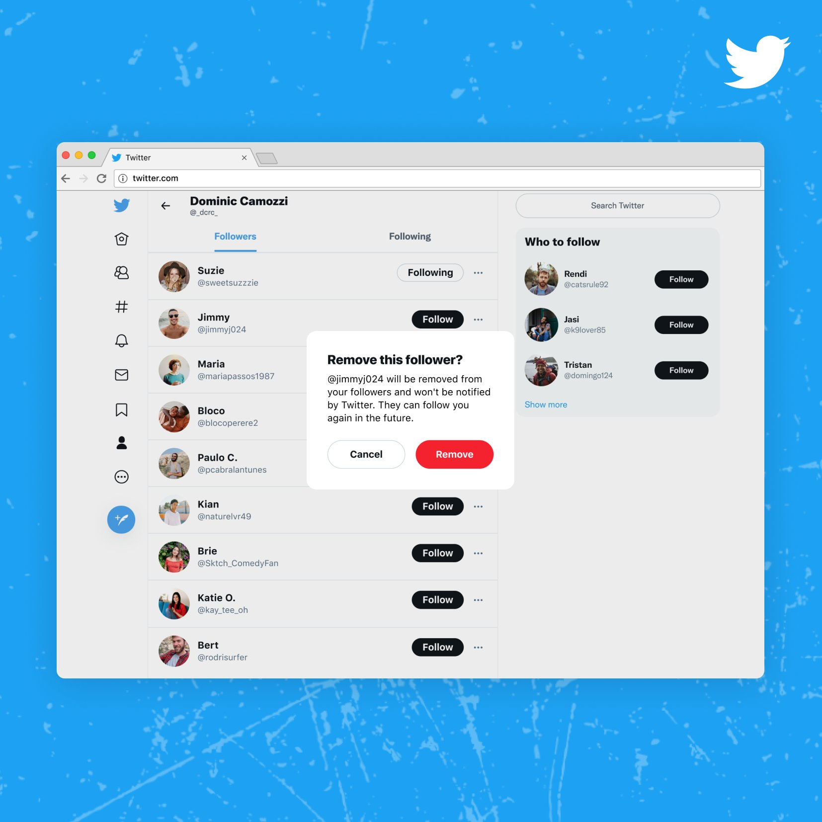 A screenshot of Twitter's web interface showing removing a follower without blocking them