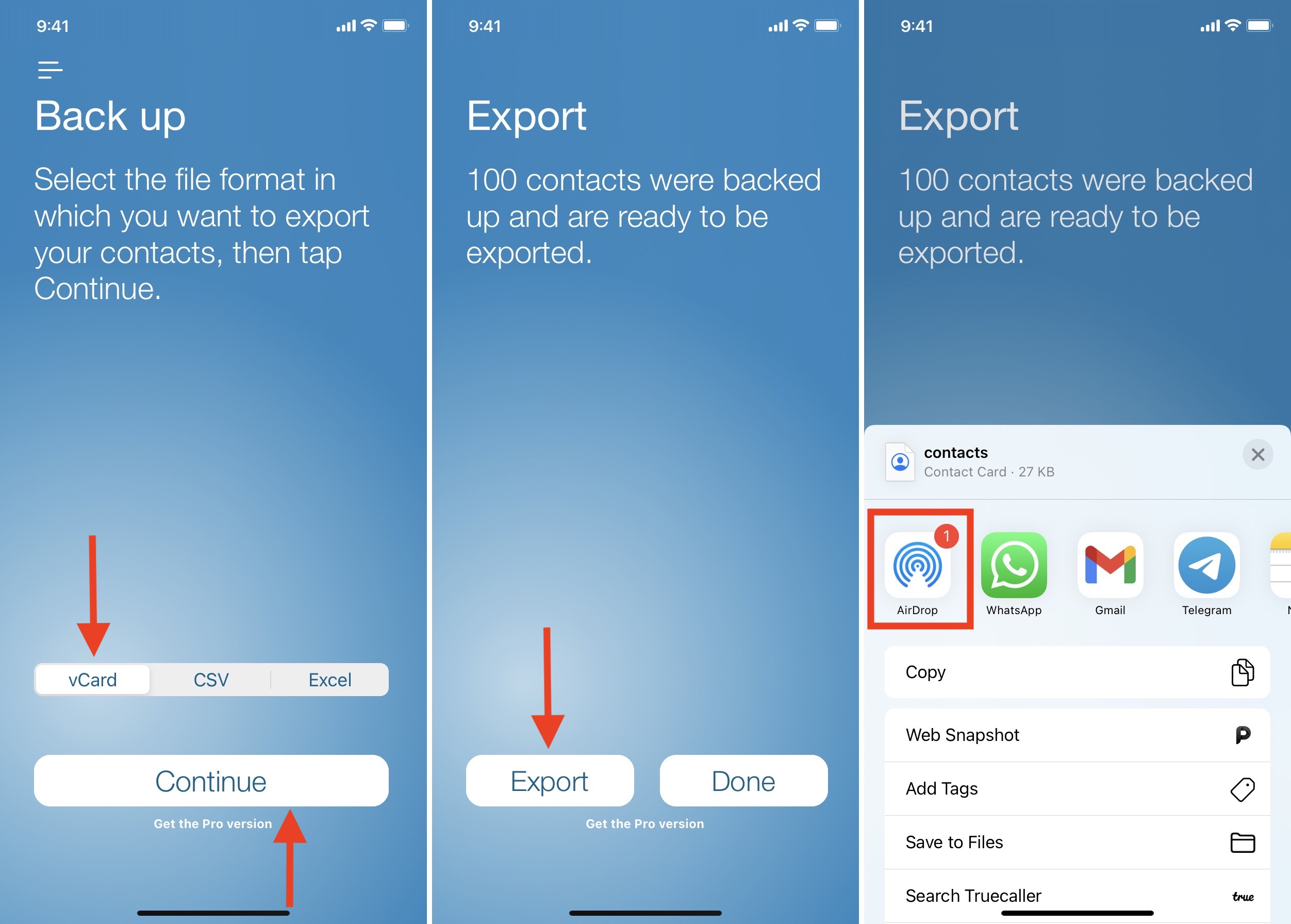 Use Export Contacts to Transfer Contacts from iPhone to Mac