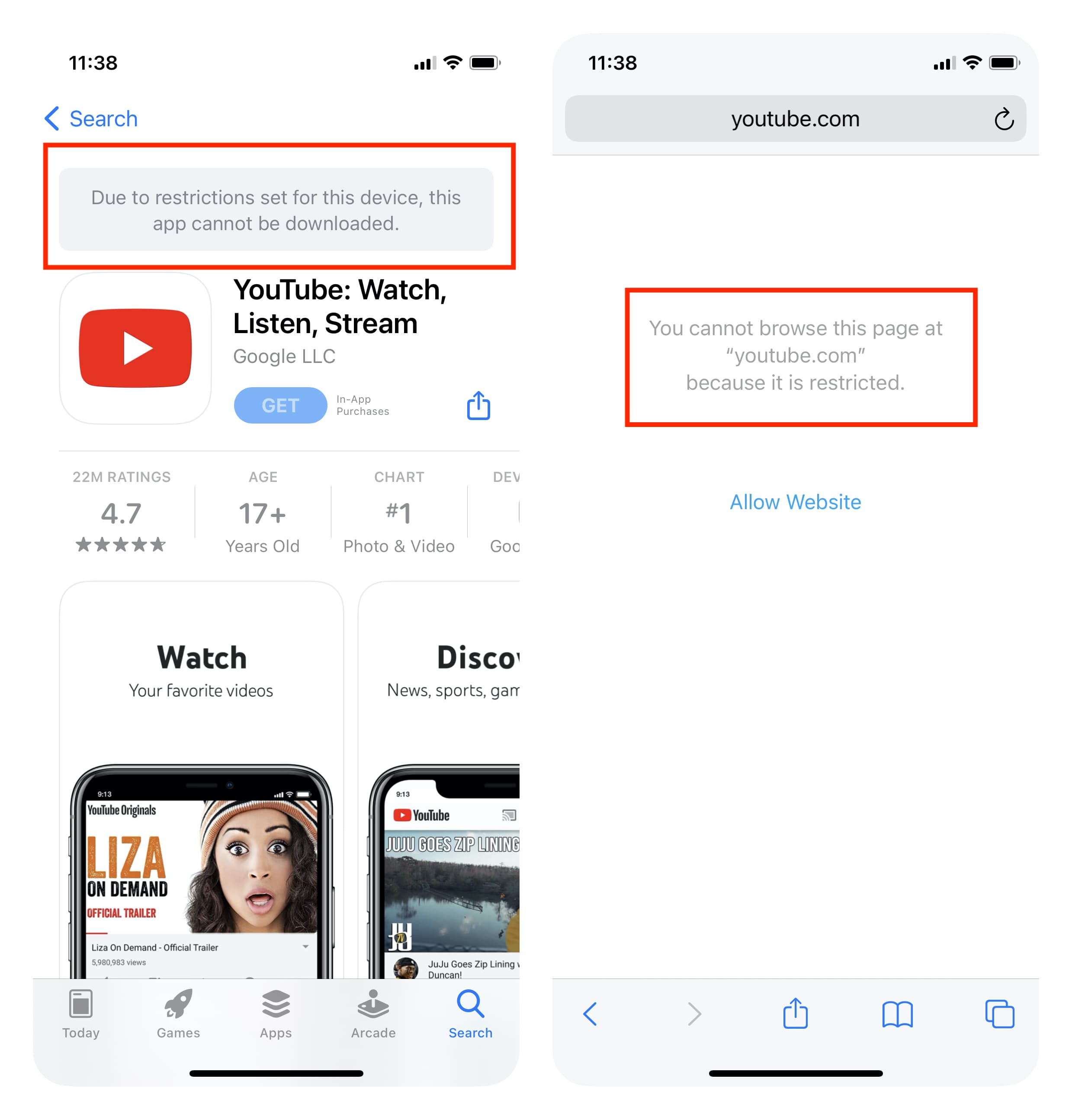 YouTube blocked on iPhone
