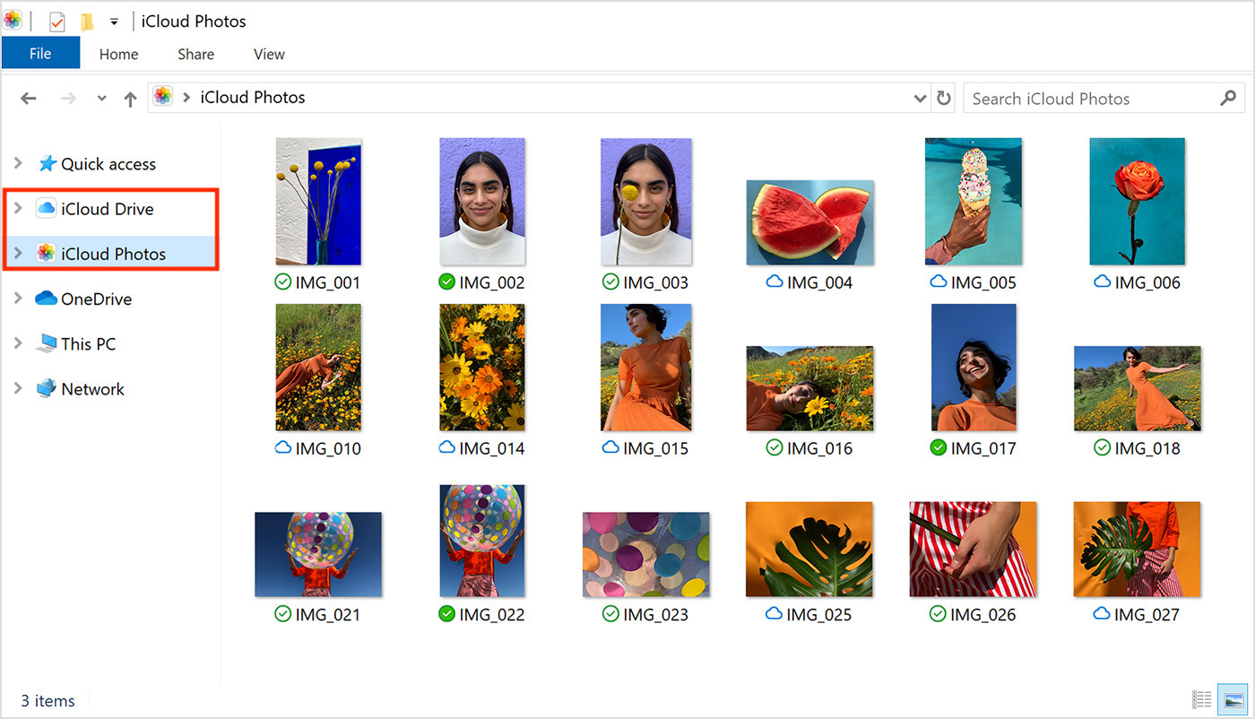 iCloud Photos and iCloud Drive folders in Windows PC File Explorer