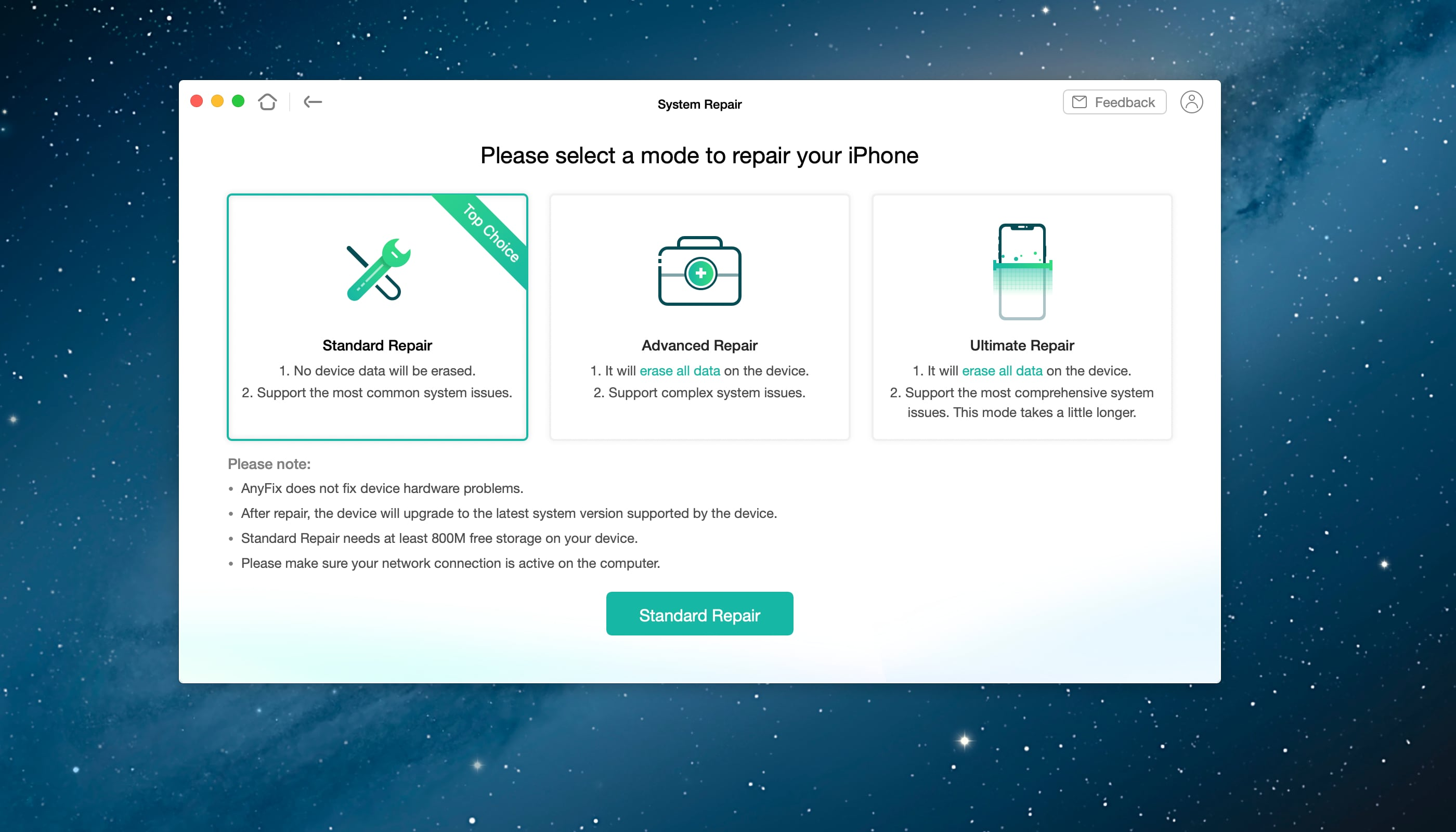 """A screenshot showing iMobie's AnyFix app for macOS with the """"Standard Repair"""" option highlighted on the main screen"""