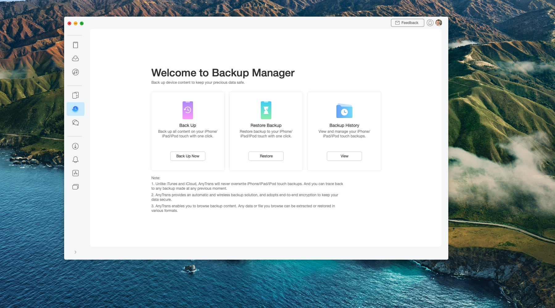 A Mac screenshot showing the backup manager in iMobie's AnyTrans utility on macOS