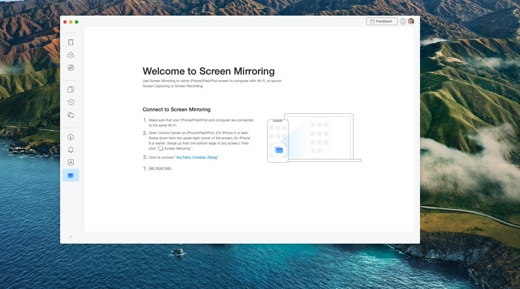 A Mac screenshot showing the screen mirroring feature in iMobie's AnyTrans utility on macOS