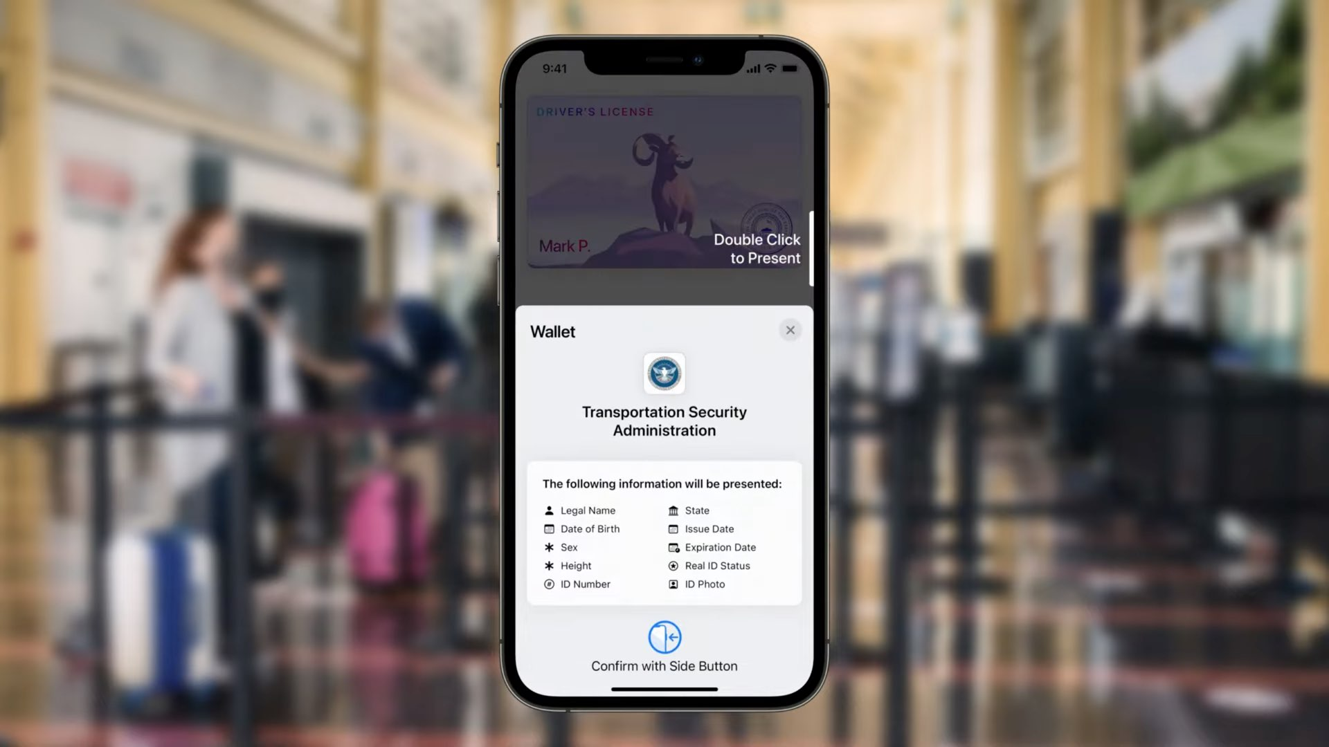 Apple's promotional image showing presenting driver's license to TSA with iOS 15 Wallet on iPhone