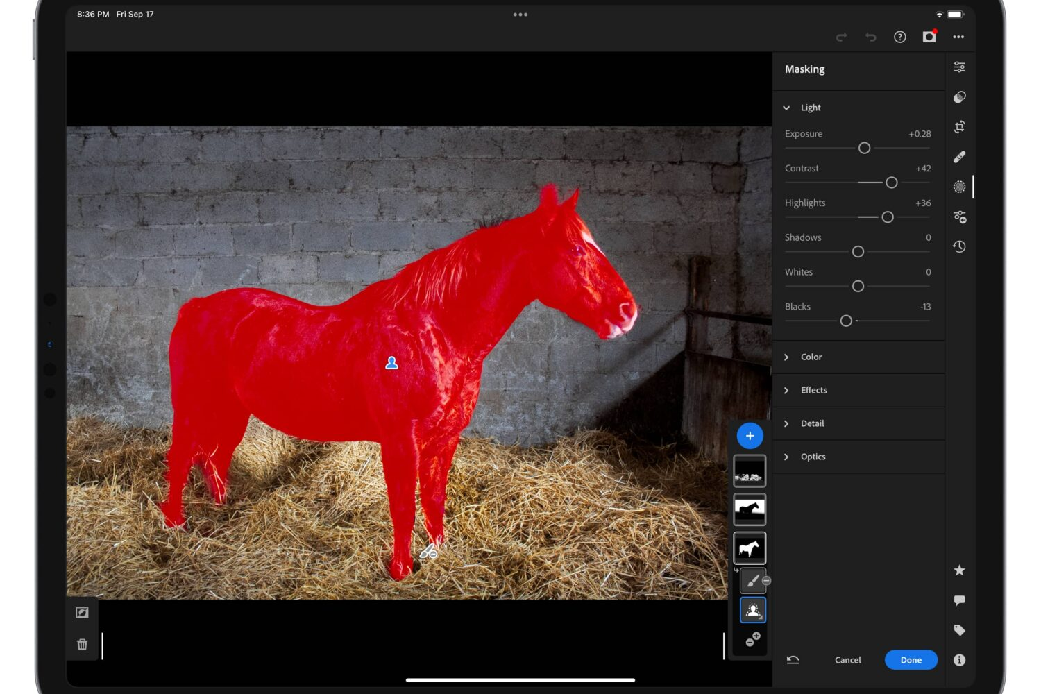Adobe's marketing image showing smart object selection in Lightroom on iPad