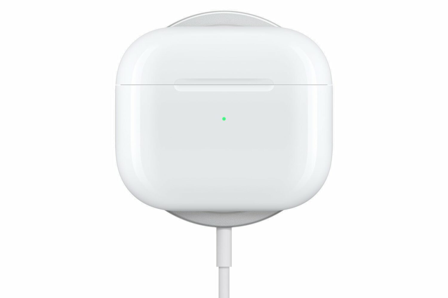 Apple's marketing image showing the AirPods 3 charging case sitting on a MagSafe wireless charging puck