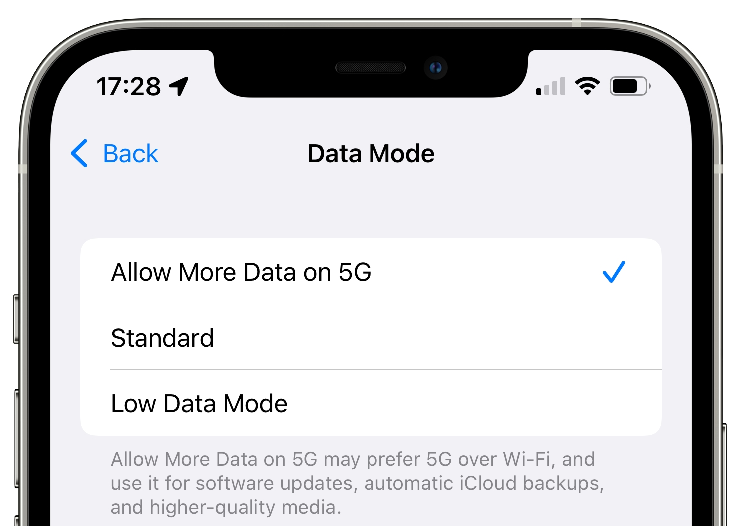 """An iOS screenshot showing 5G cellular settings on iPhone with the """"Allow More Data on 5G"""" switch turned on"""