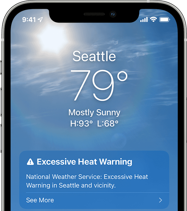 Apple's Weather app in iOS 15 on iPhone showing an excessive heat warning for the Seattle area