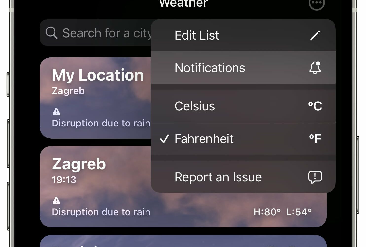 """An iPhone screenshot showing the three-dotted menu in Apple's Weather app on iOS 15 with the menu option labeled """"Notifications"""" highlighted"""