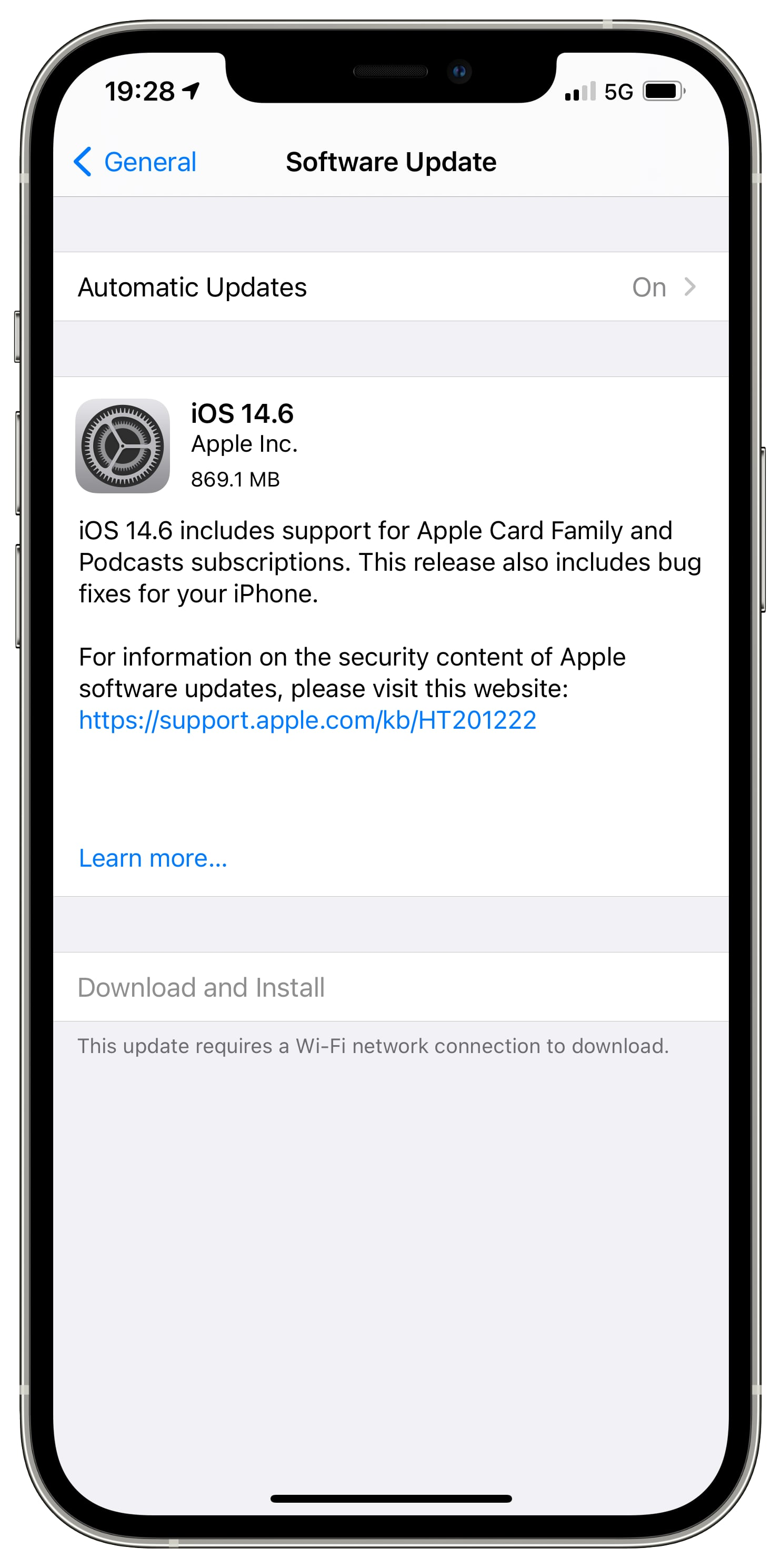 An iPhone screenshot showing the iOS 14.6 prompt in the Software Update screen within Settings, with a warning saying current 5G data settings restrict iOS software updates to Wi-Fi