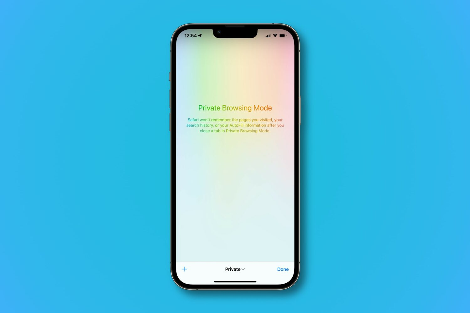 A screenshot showing Apple's Safari browser running in private mode in iOS 15 on iPhone
