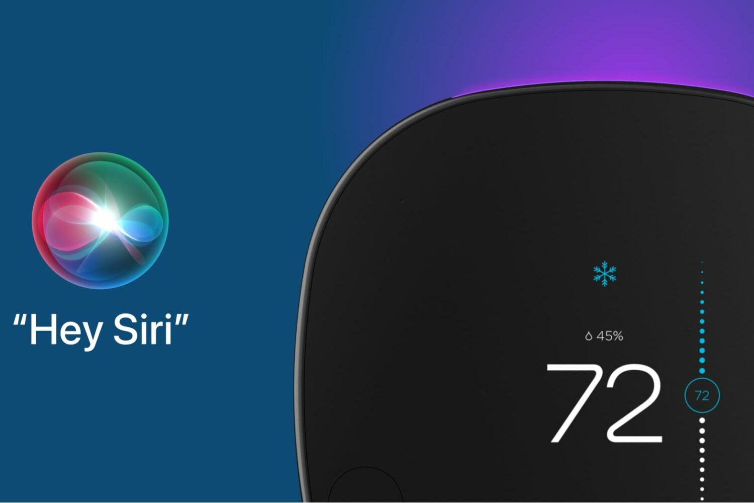 A marketing image from Ecobee showing its smart thermostat and the Hey Siri orb set against a blue/pink gradient