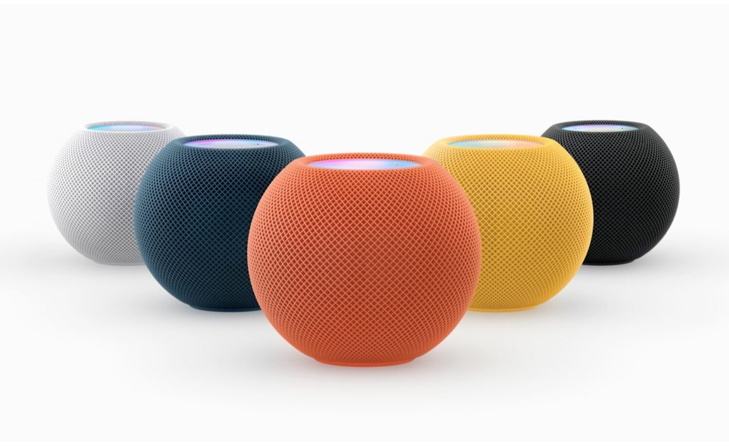 Apple\s marketing image showing the colorful HomePod mini models. HomePod mini is currently limited to lossless audio, lacking support for spatial audio