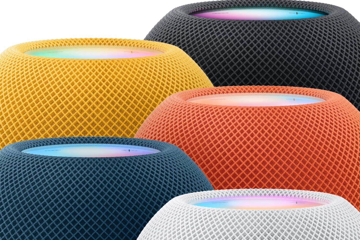 Apple's marketing image showing the upper half of the HomePod mini speakers in black, white, blue, orange and yellow