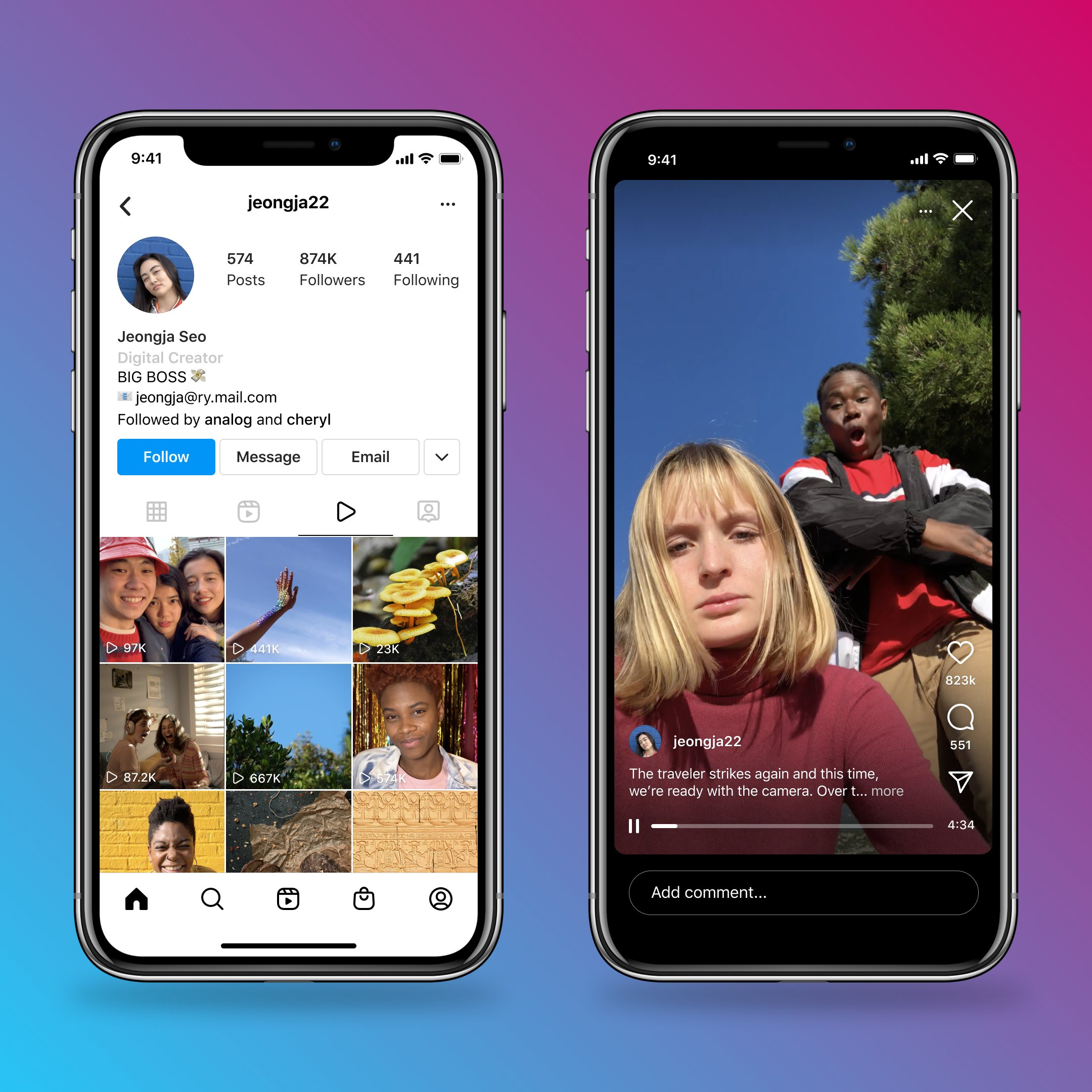 Two iPhone screenshots showing a new Video tab on Instagram profiles and the IGTV interface