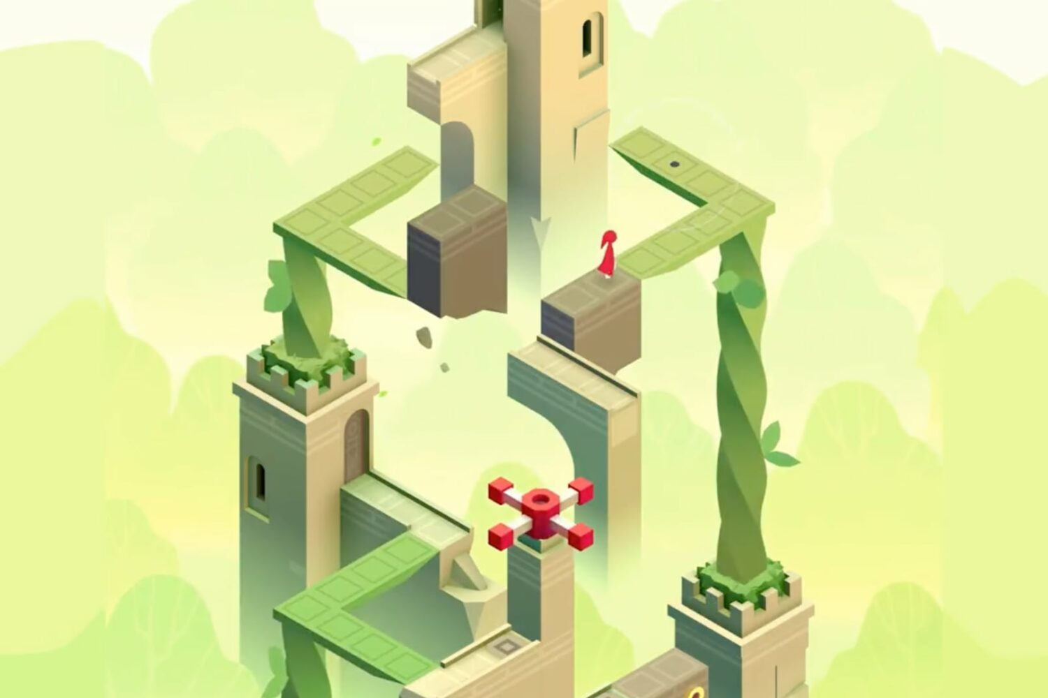 A scene from The Lost Forest level from the Monument Valley 2 game