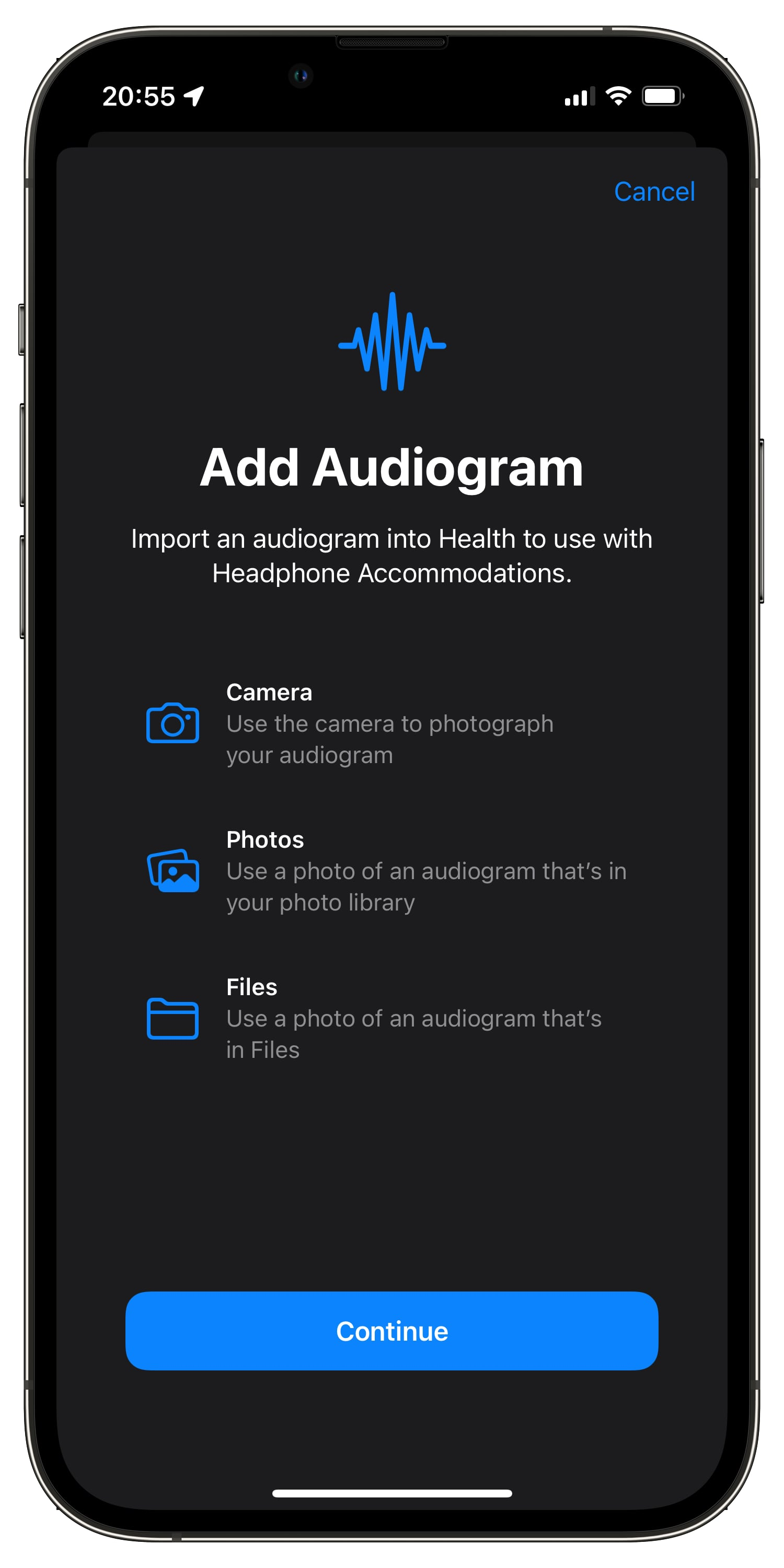 iPhone screenshot showing uploading audiogram to iPhone on iOS 15 with three options available: the Camera app, the Photos app and the Files app