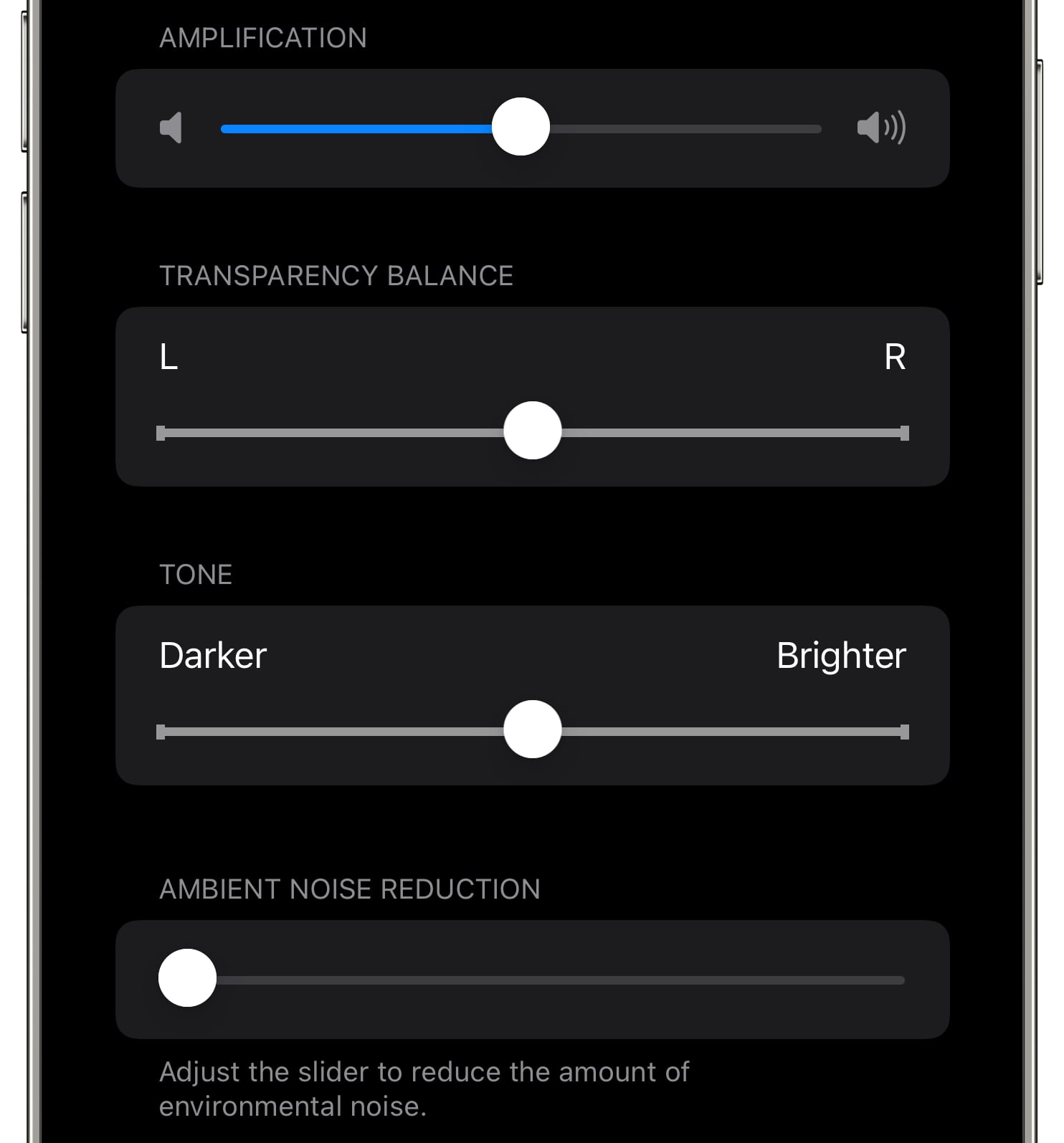 An iPhone screenshot showing audio adjustments for custom transparency mode for AirPods Pro on iOS 15