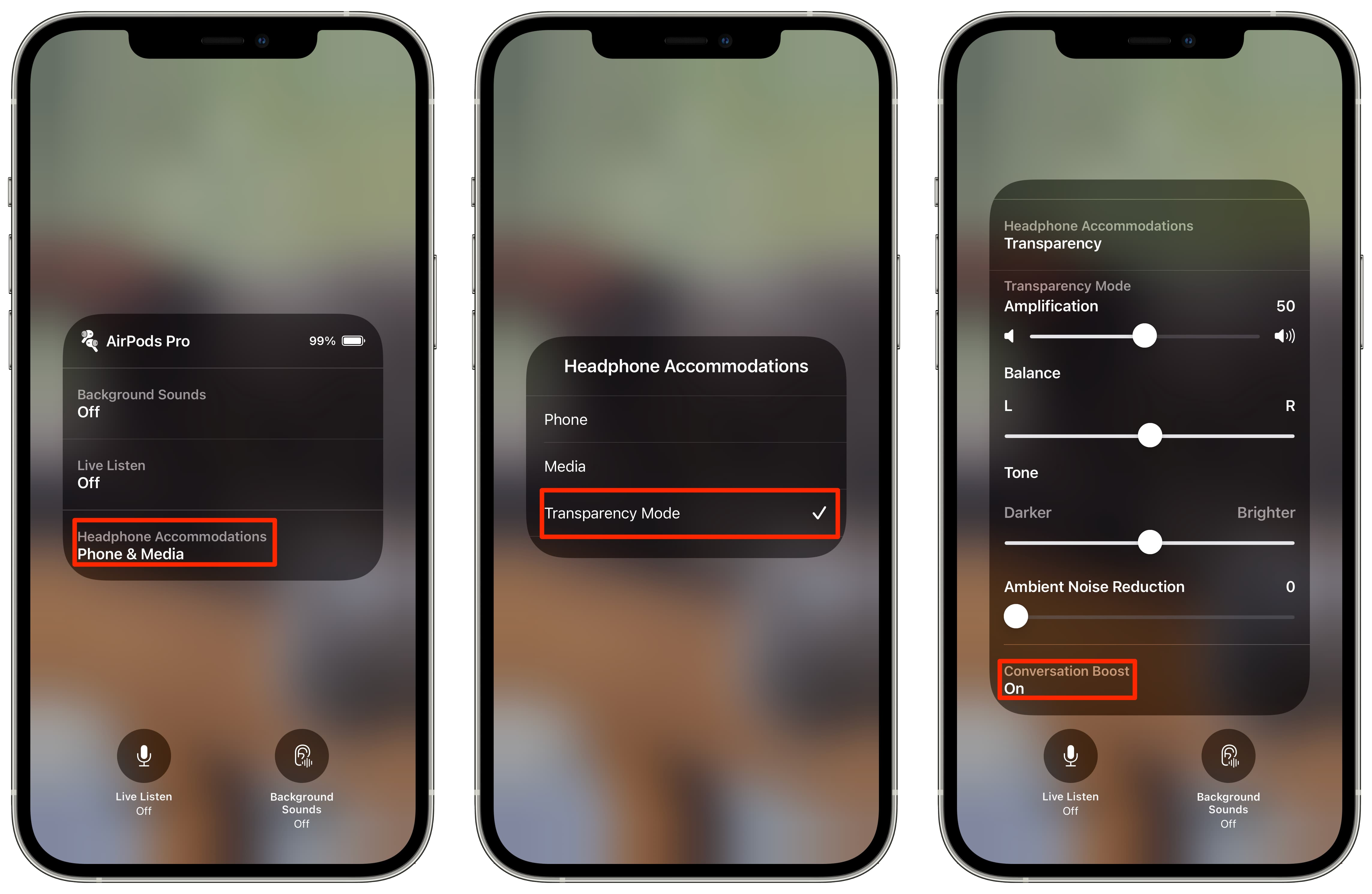 Three iPhone screenshots showing how to turn on the Conversation Boost feature from Control Center on iOS 15